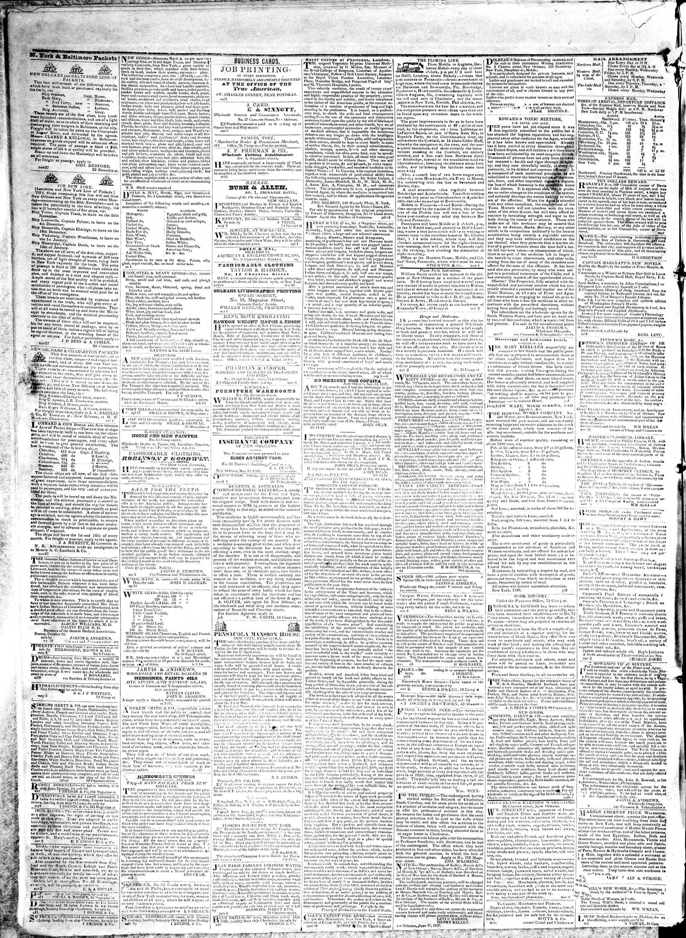 May 15, 1839 Tarihli True American Gazetesi Sayfa 4