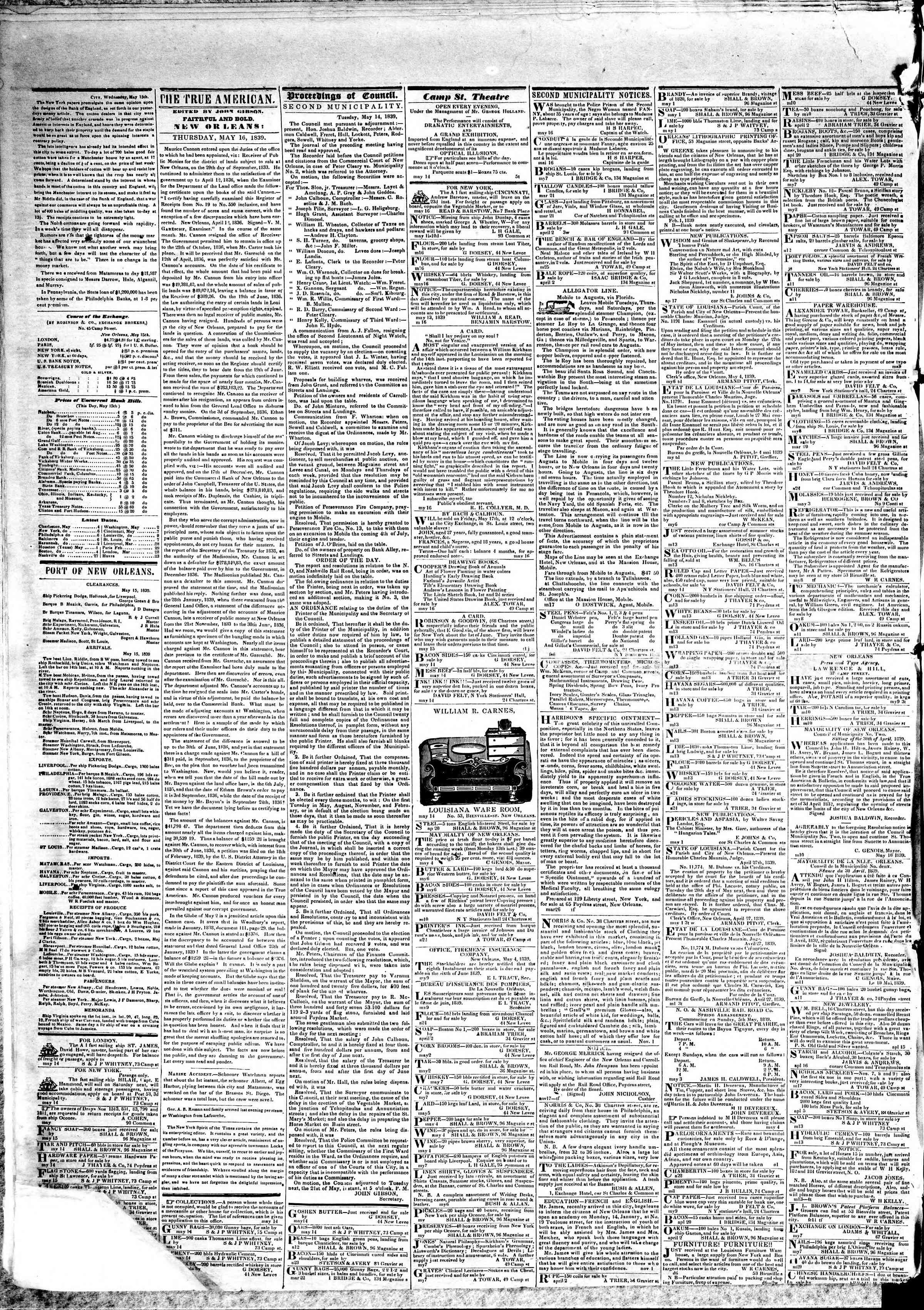 May 16, 1839 Tarihli True American Gazetesi Sayfa 2