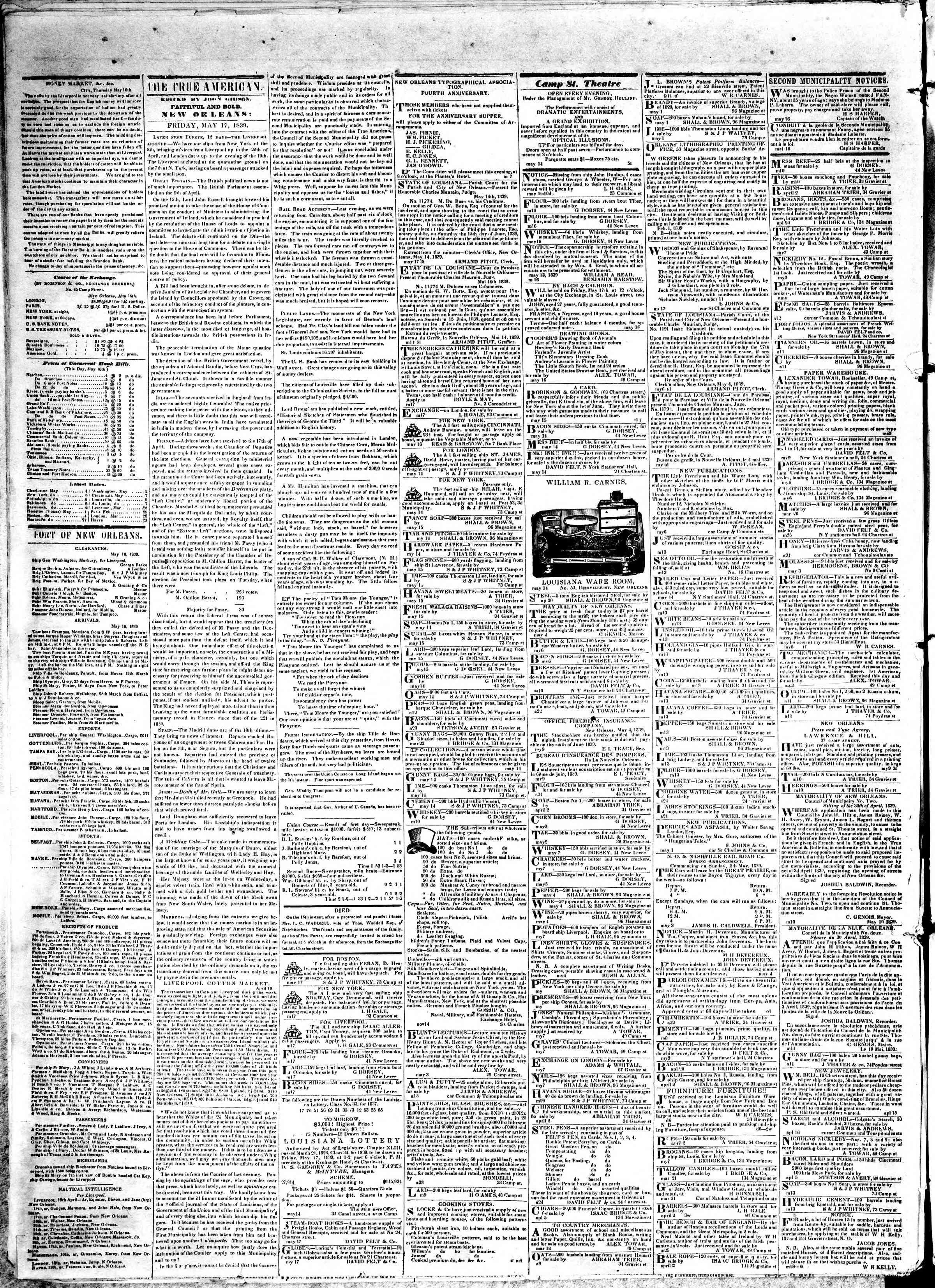 May 17, 1839 Tarihli True American Gazetesi Sayfa 2