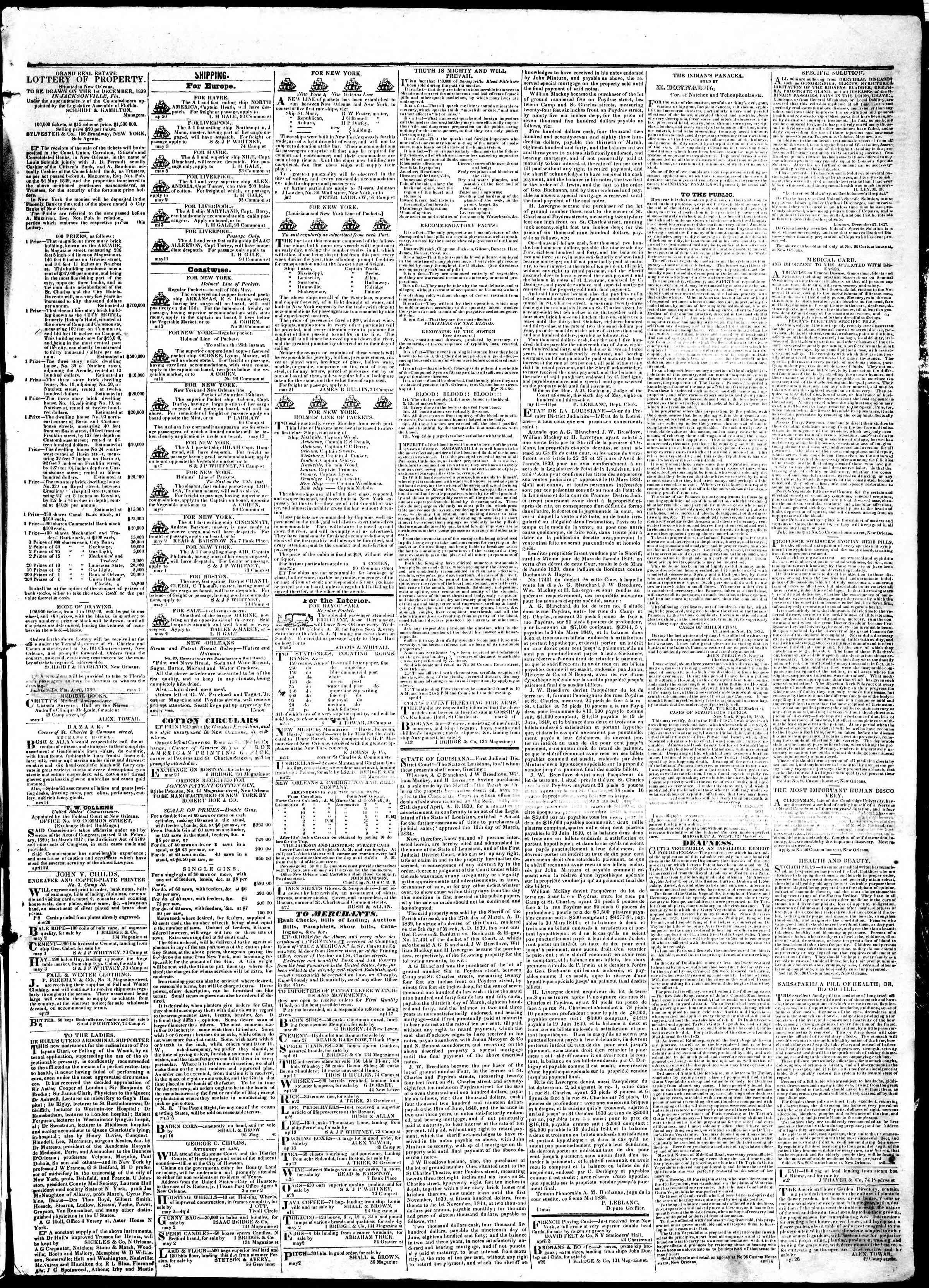 Newspaper of True American dated May 17, 1839 Page 3