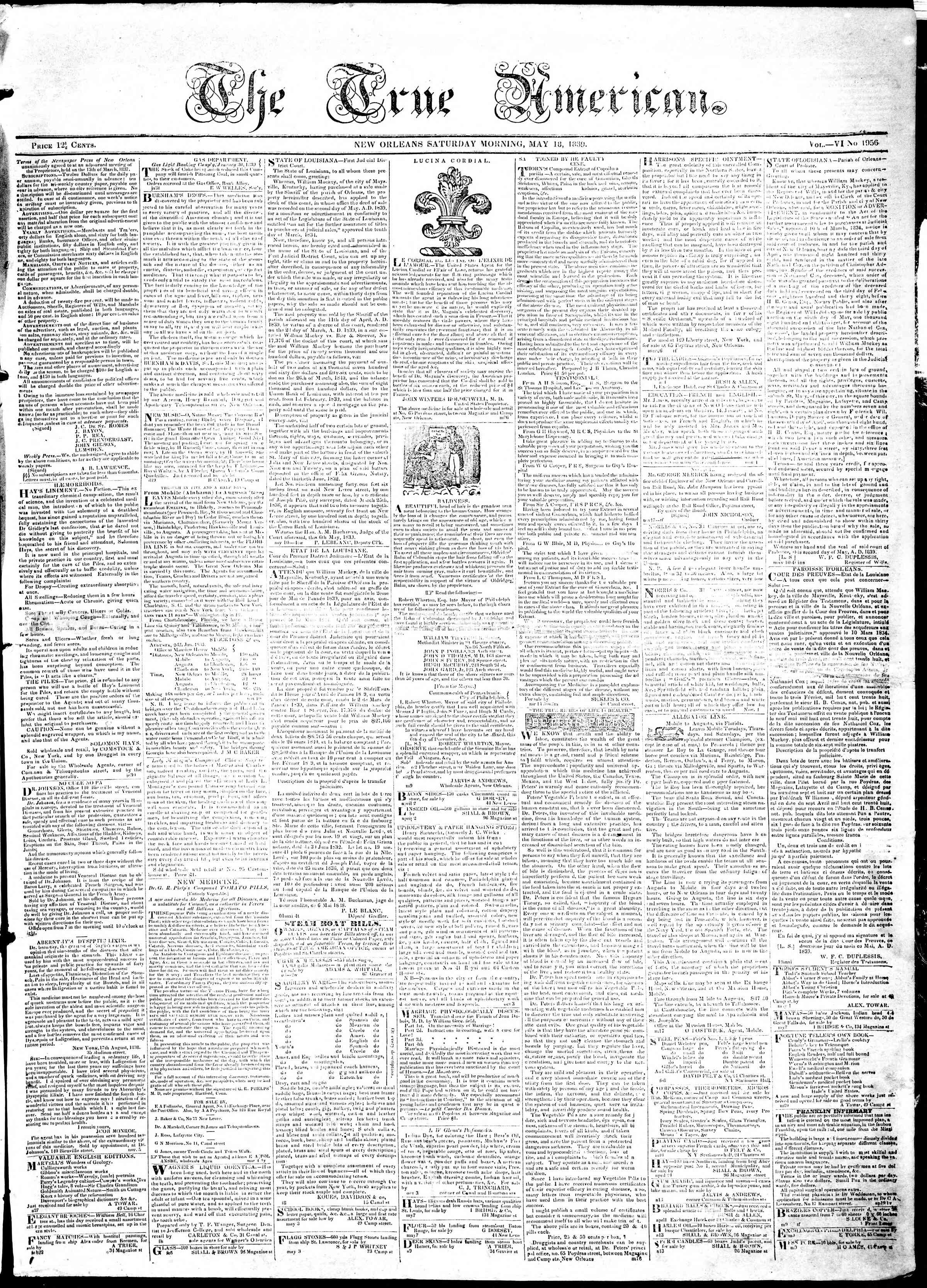 Newspaper of True American dated May 18, 1839 Page 1