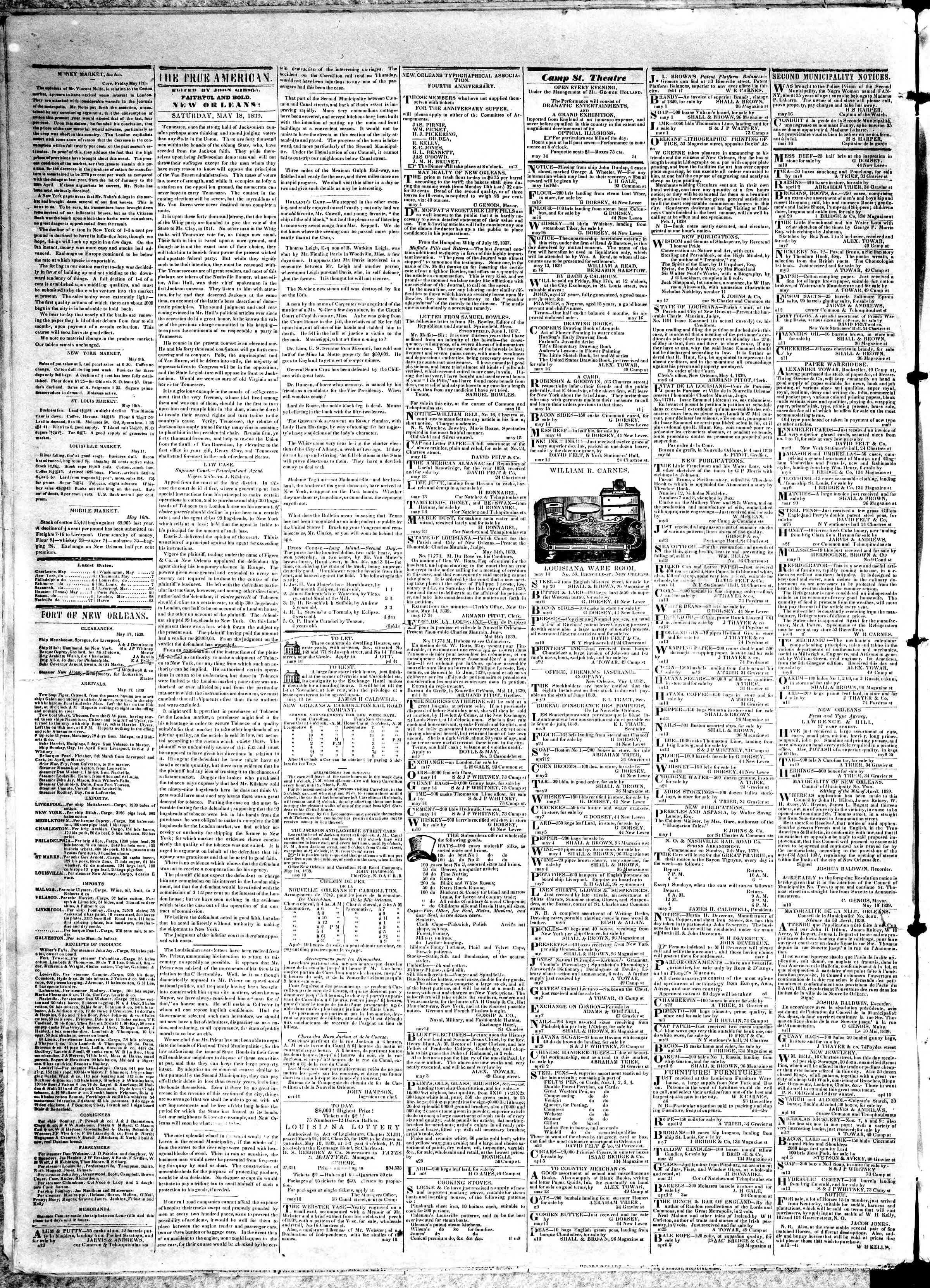 Newspaper of True American dated May 18, 1839 Page 2