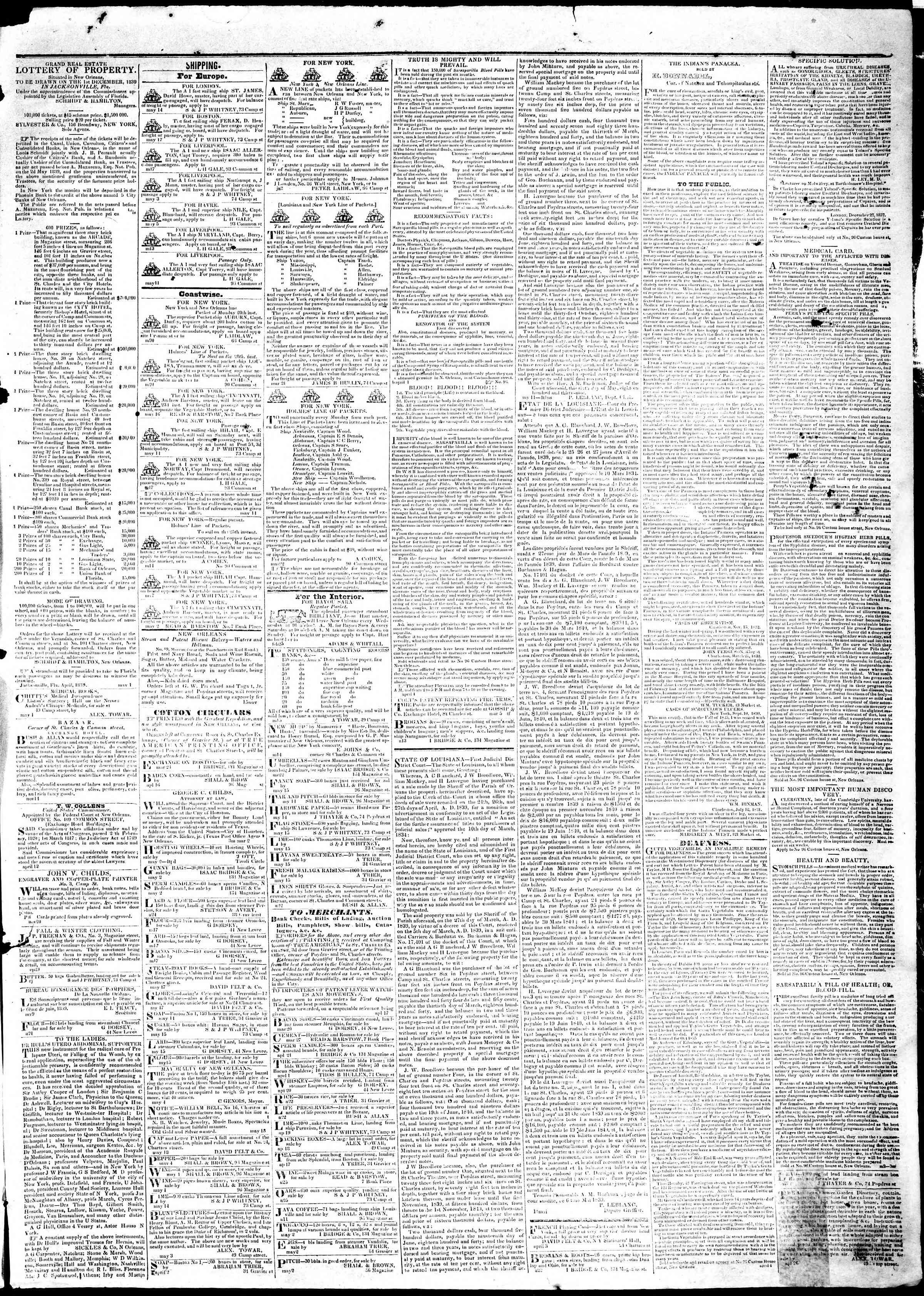 May 20, 1839 Tarihli True American Gazetesi Sayfa 3