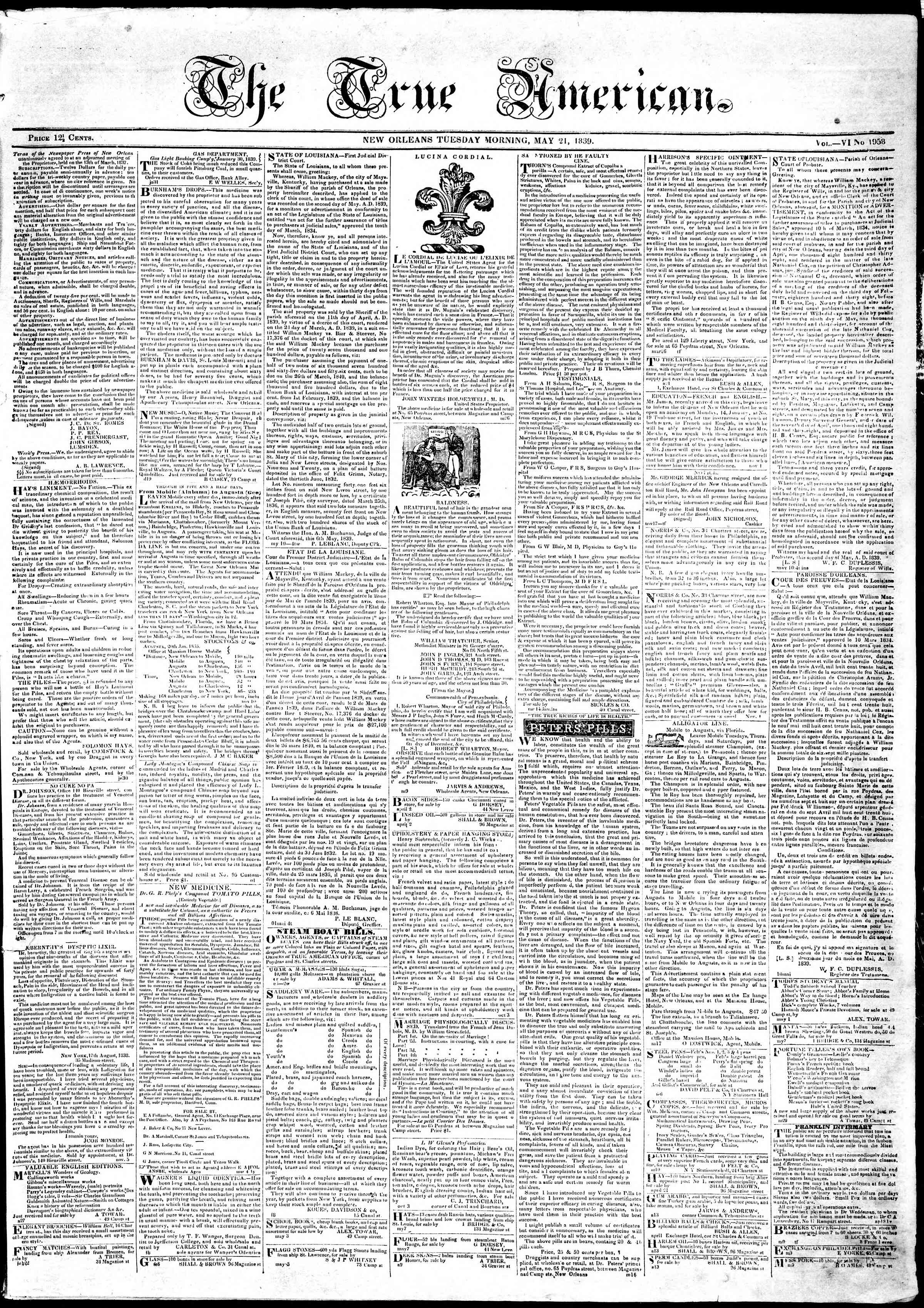 Newspaper of True American dated May 21, 1839 Page 1