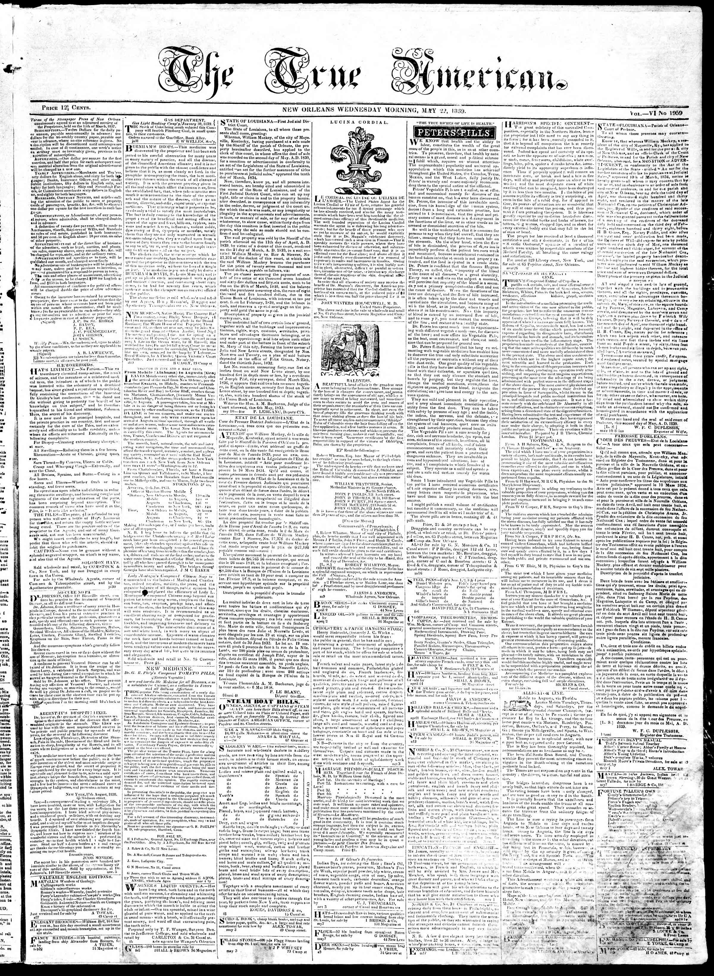 Newspaper of True American dated May 22, 1839 Page 1