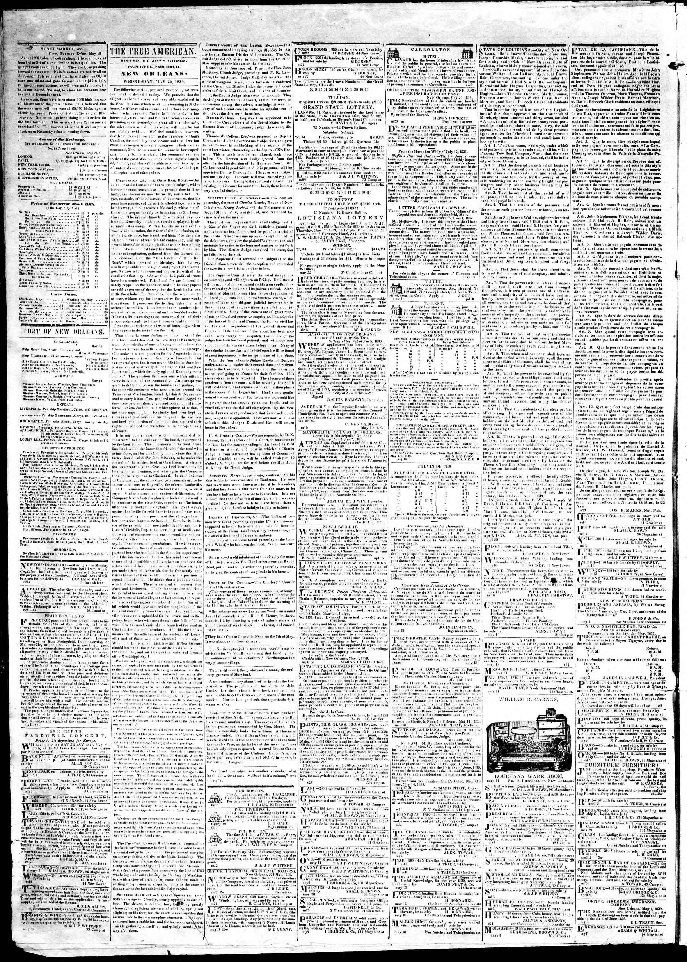 Newspaper of True American dated May 22, 1839 Page 2