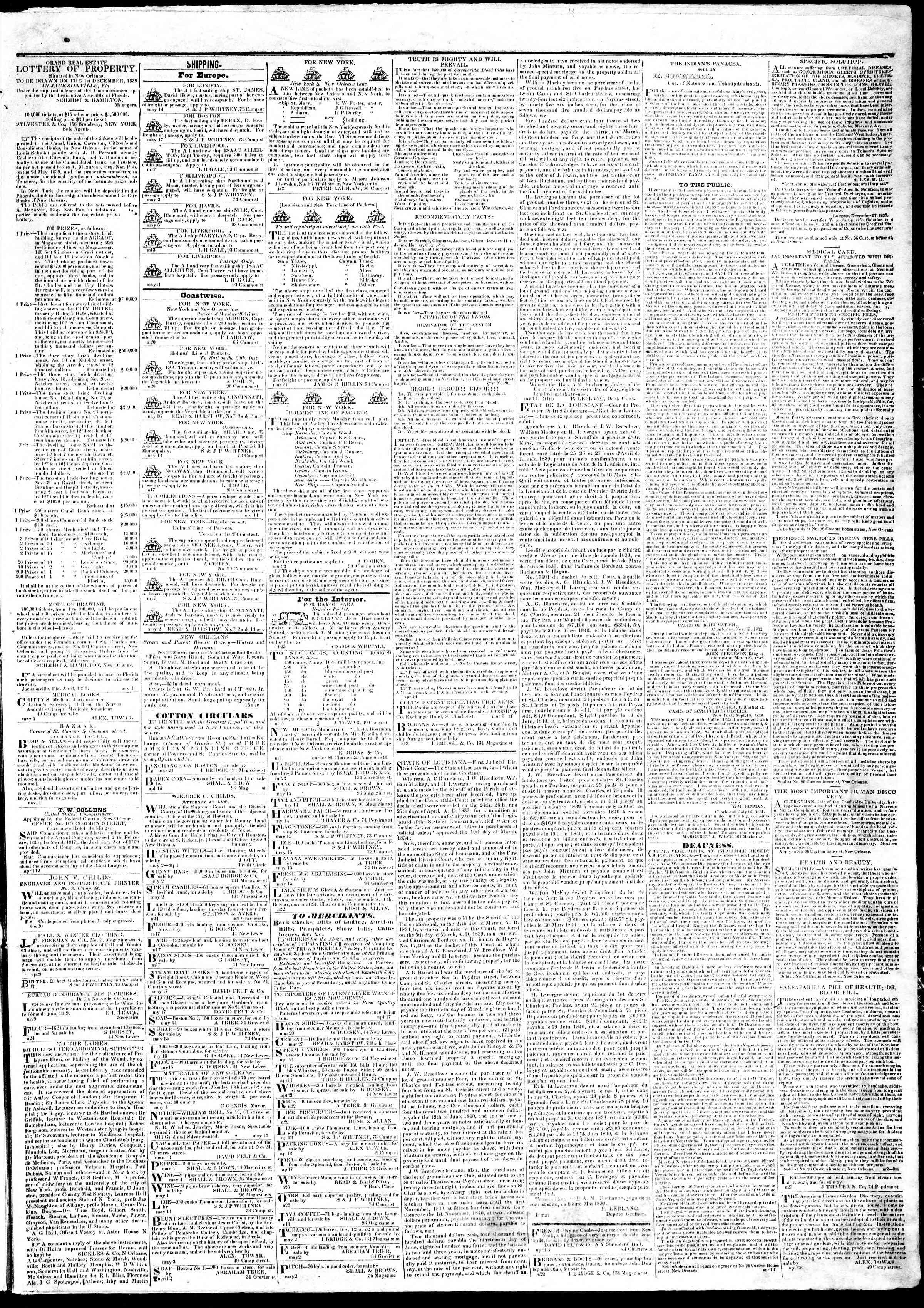 22 Mayıs 1839 tarihli True American Gazetesi Sayfa 3