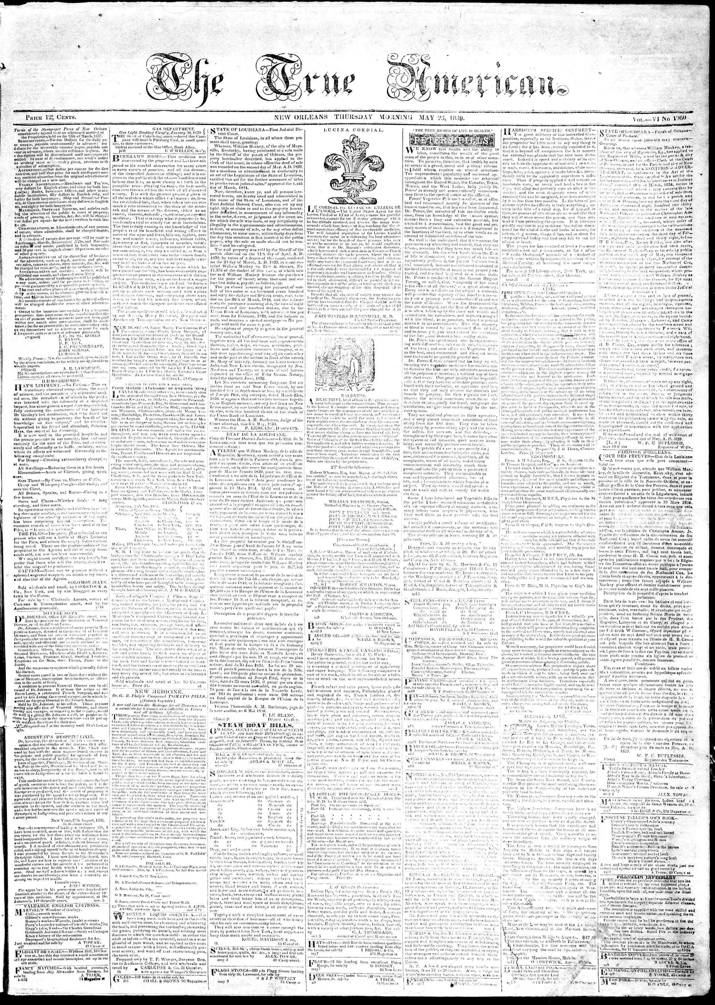Newspaper of True American dated May 23, 1839 Page 1