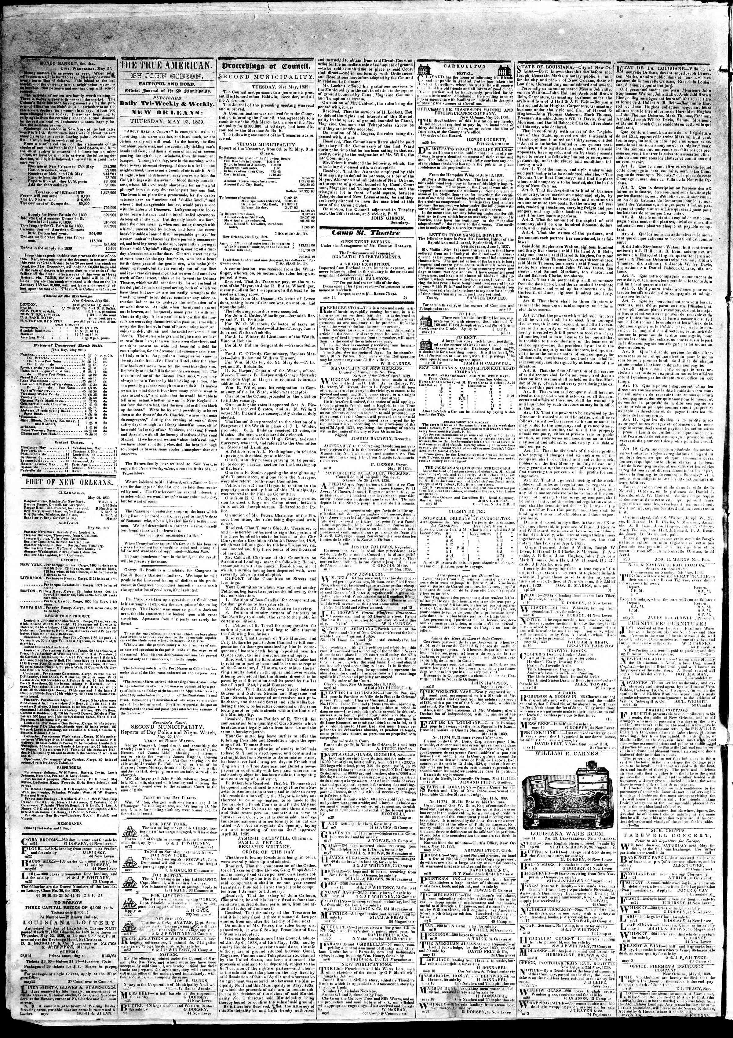 May 23, 1839 Tarihli True American Gazetesi Sayfa 2