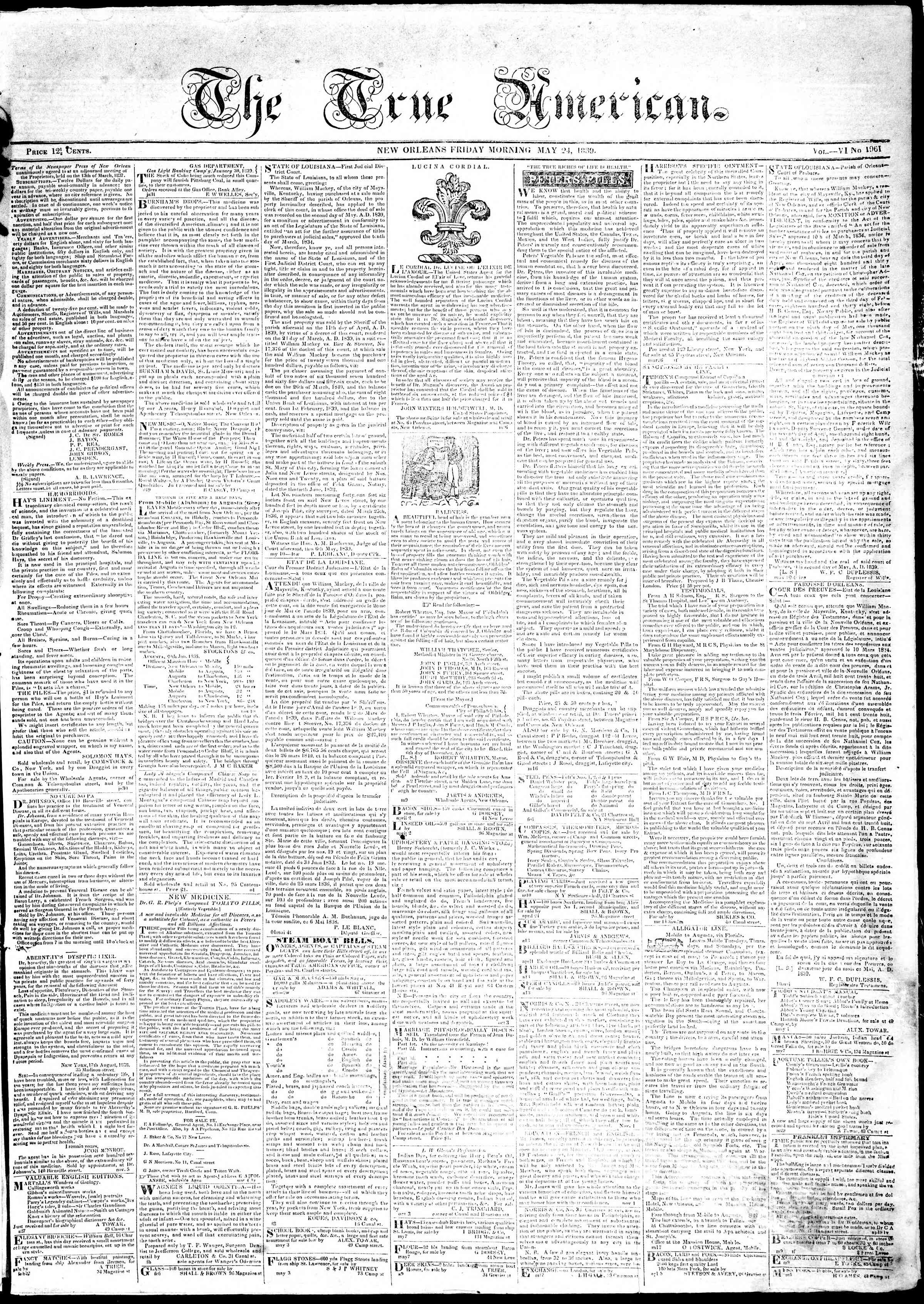 24 Mayıs 1839 Tarihli True American Gazetesi Sayfa 1