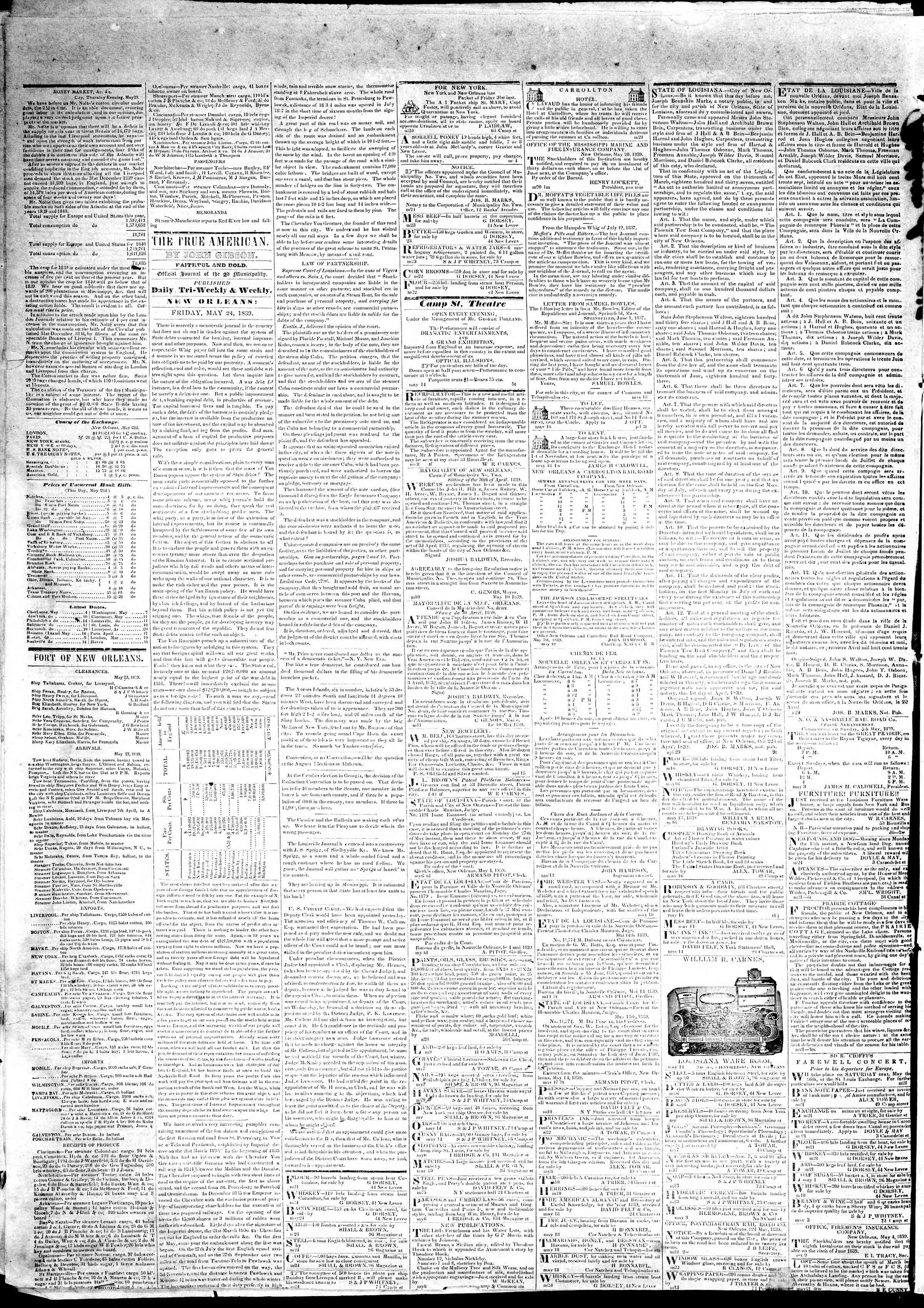 Newspaper of True American dated May 24, 1839 Page 2