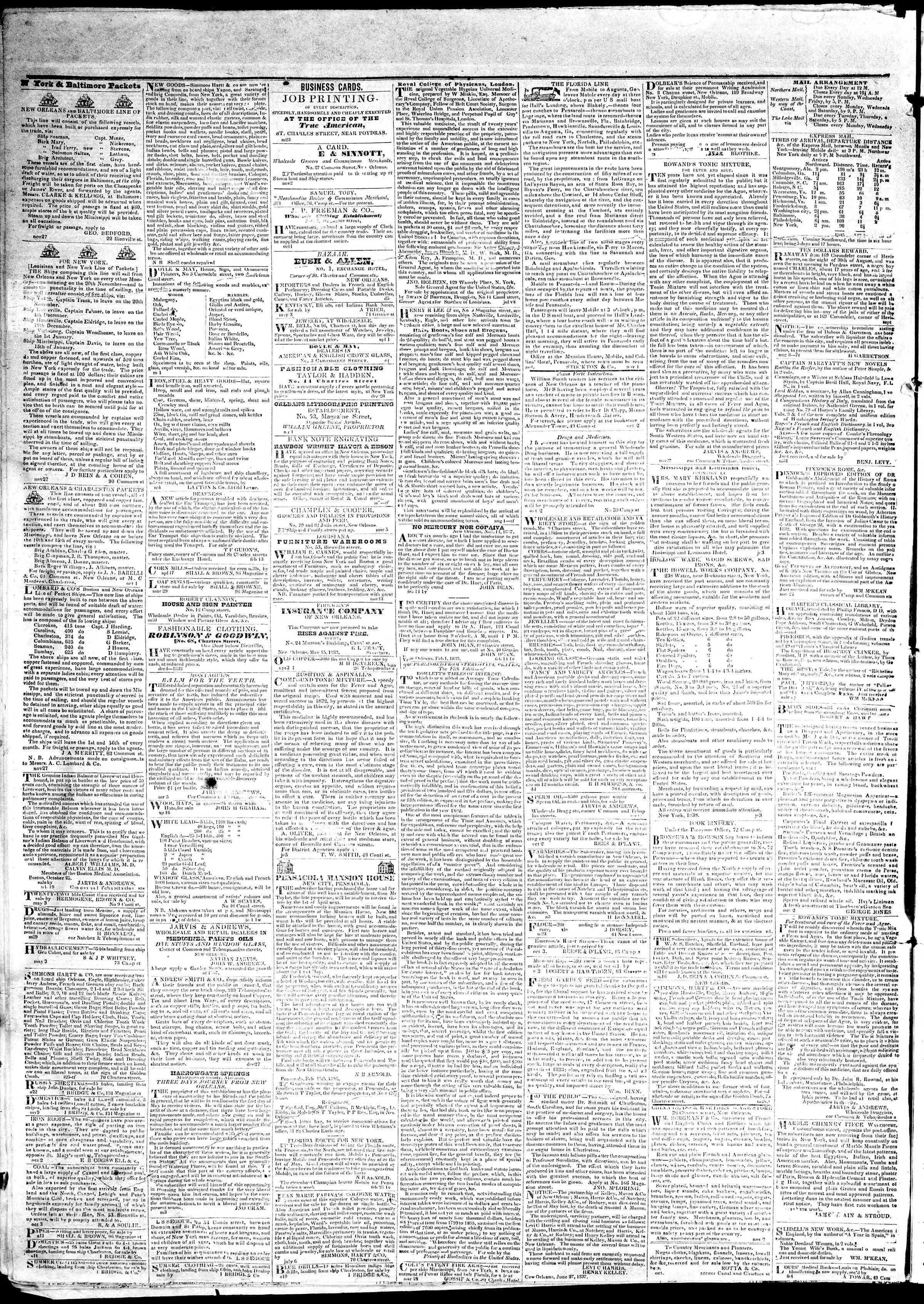 May 24, 1839 Tarihli True American Gazetesi Sayfa 4