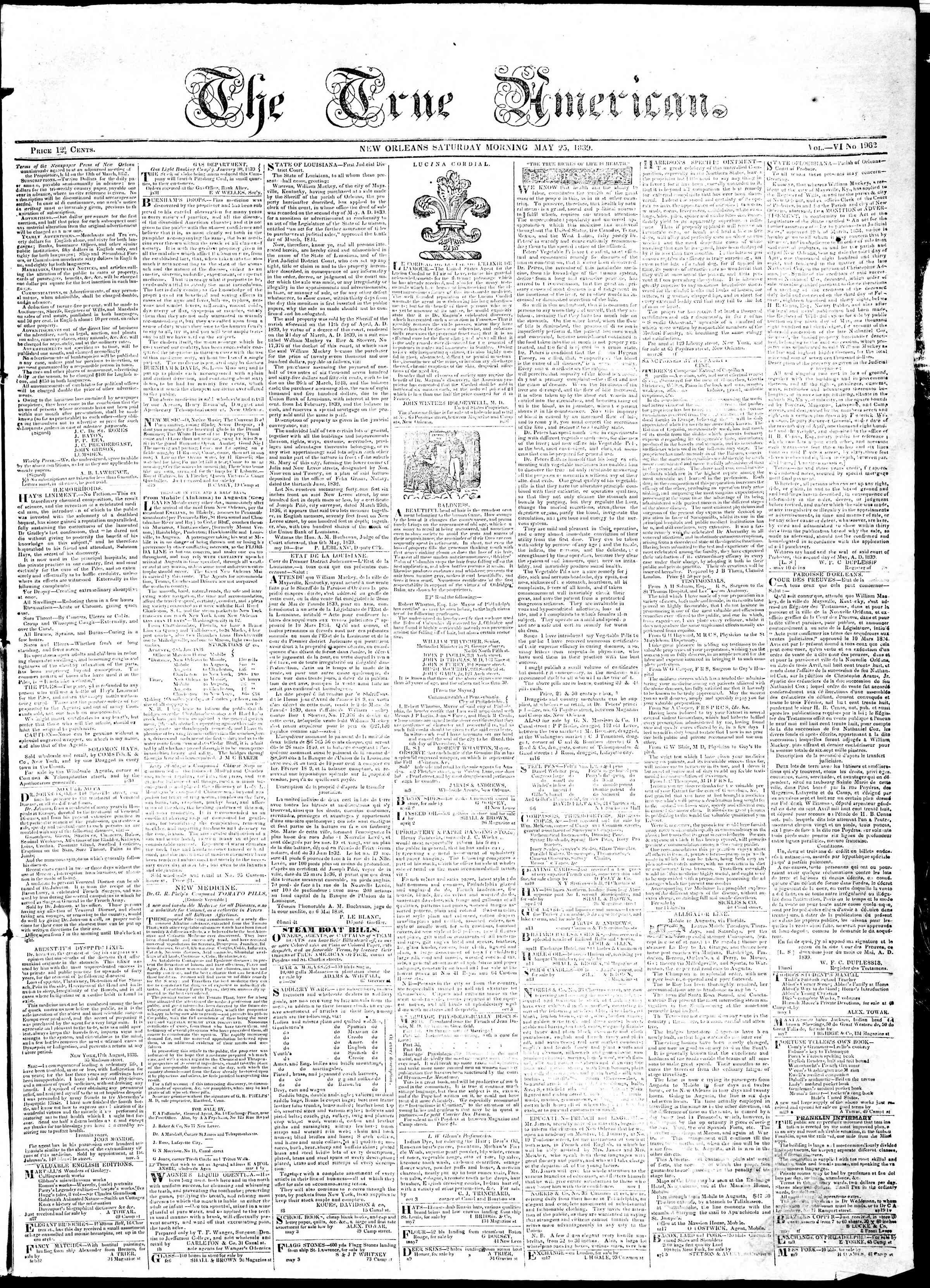 May 25, 1839 Tarihli True American Gazetesi Sayfa 1