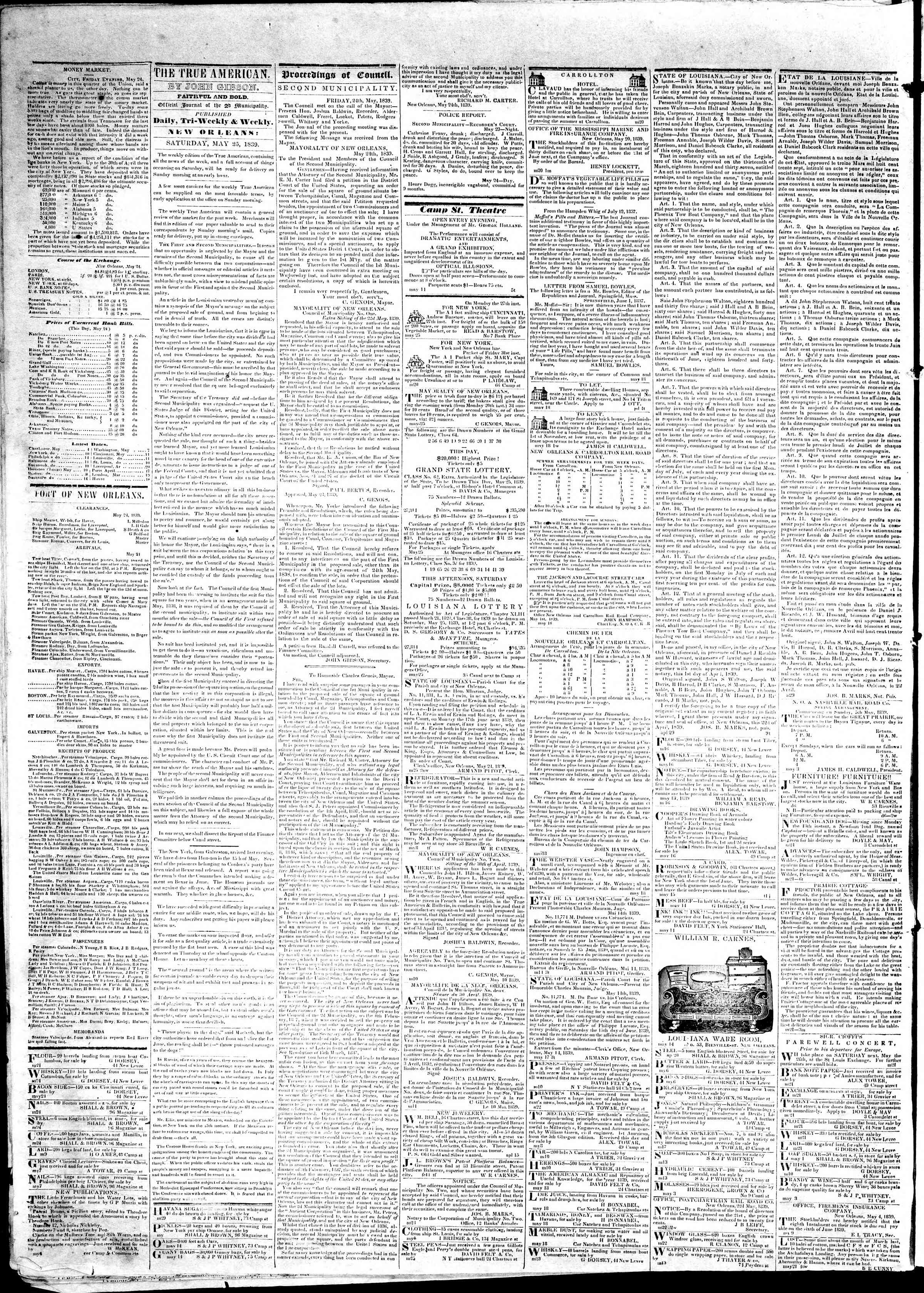 May 25, 1839 Tarihli True American Gazetesi Sayfa 2