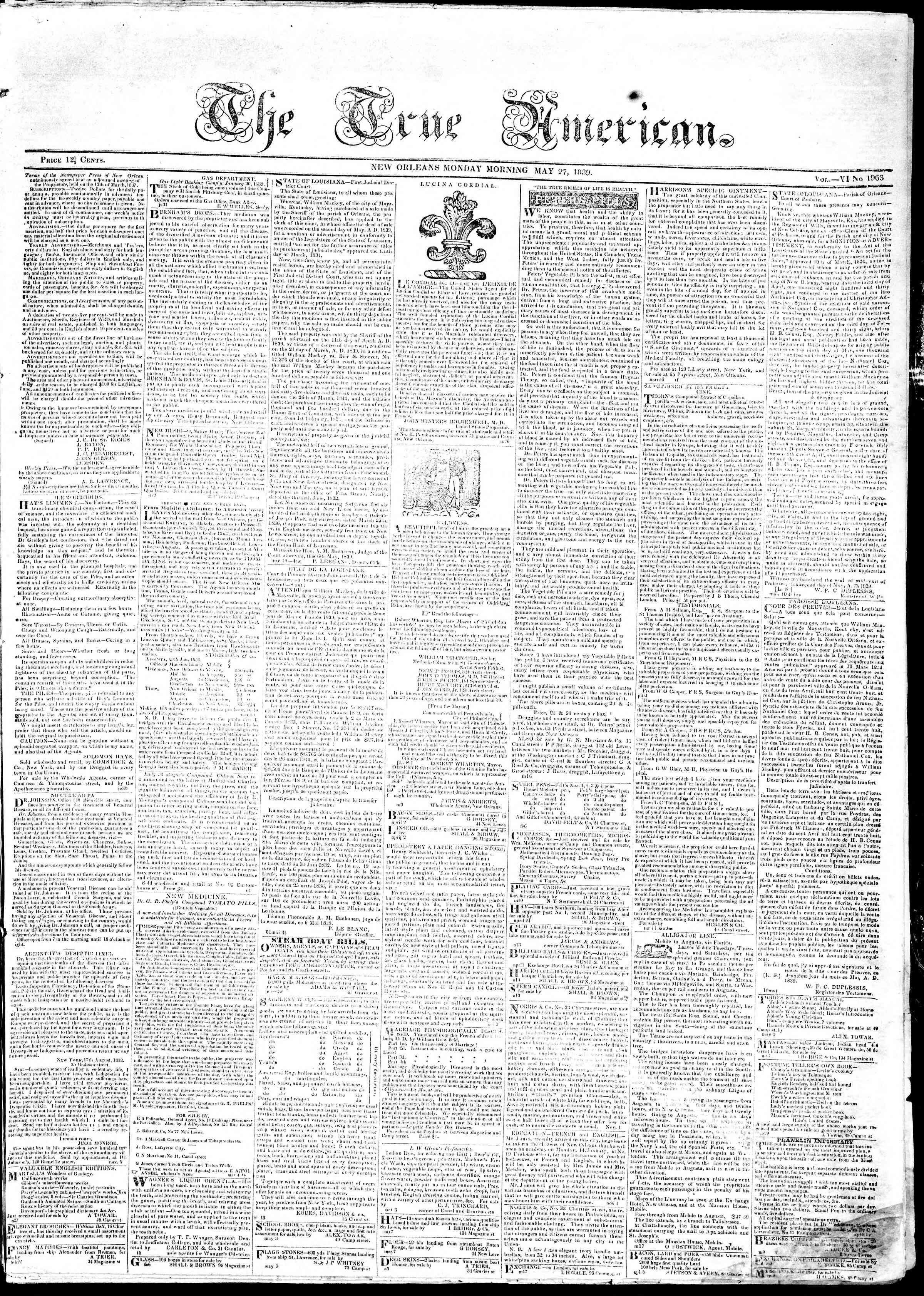 May 27, 1839 Tarihli True American Gazetesi Sayfa 1