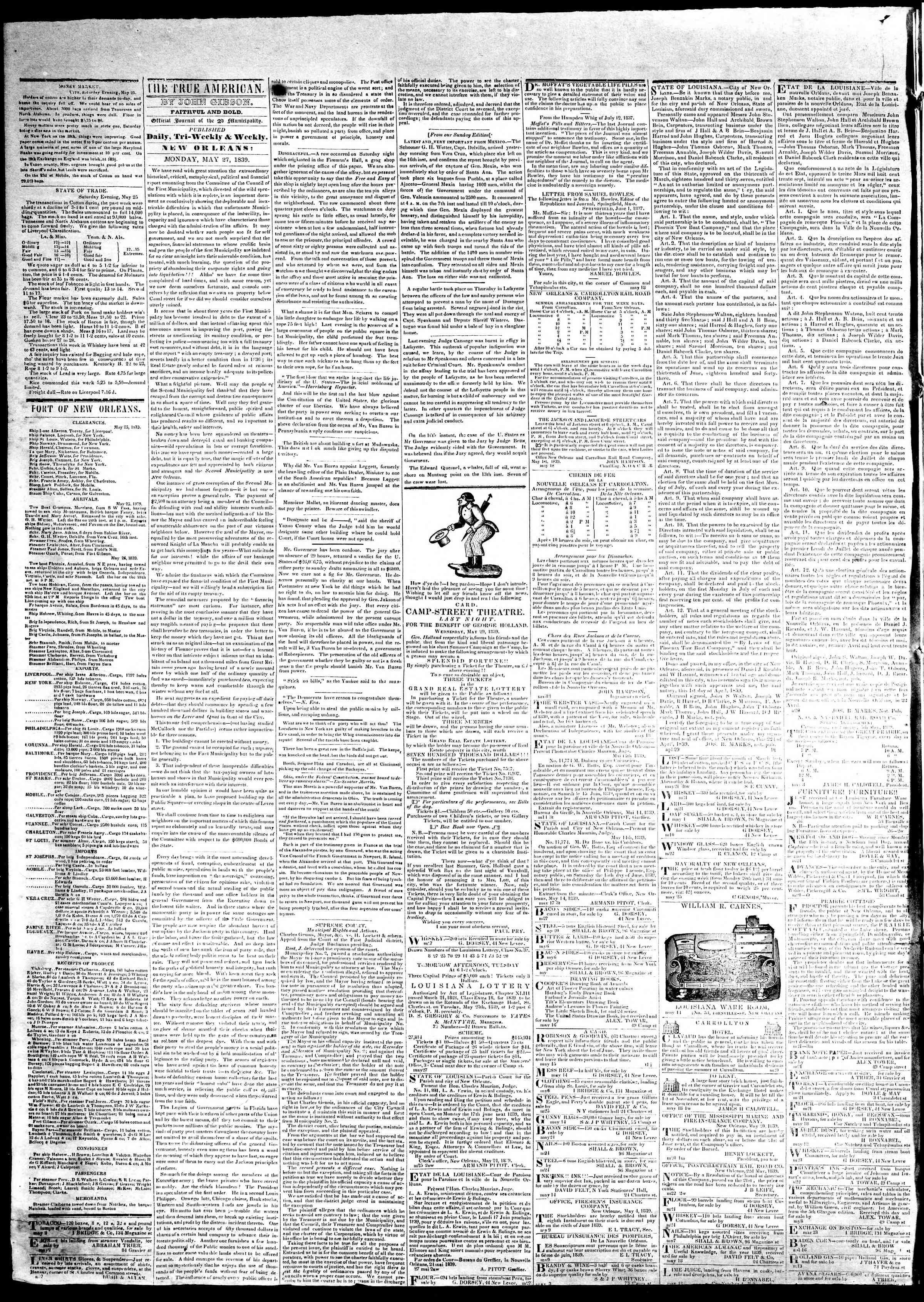 May 27, 1839 Tarihli True American Gazetesi Sayfa 2