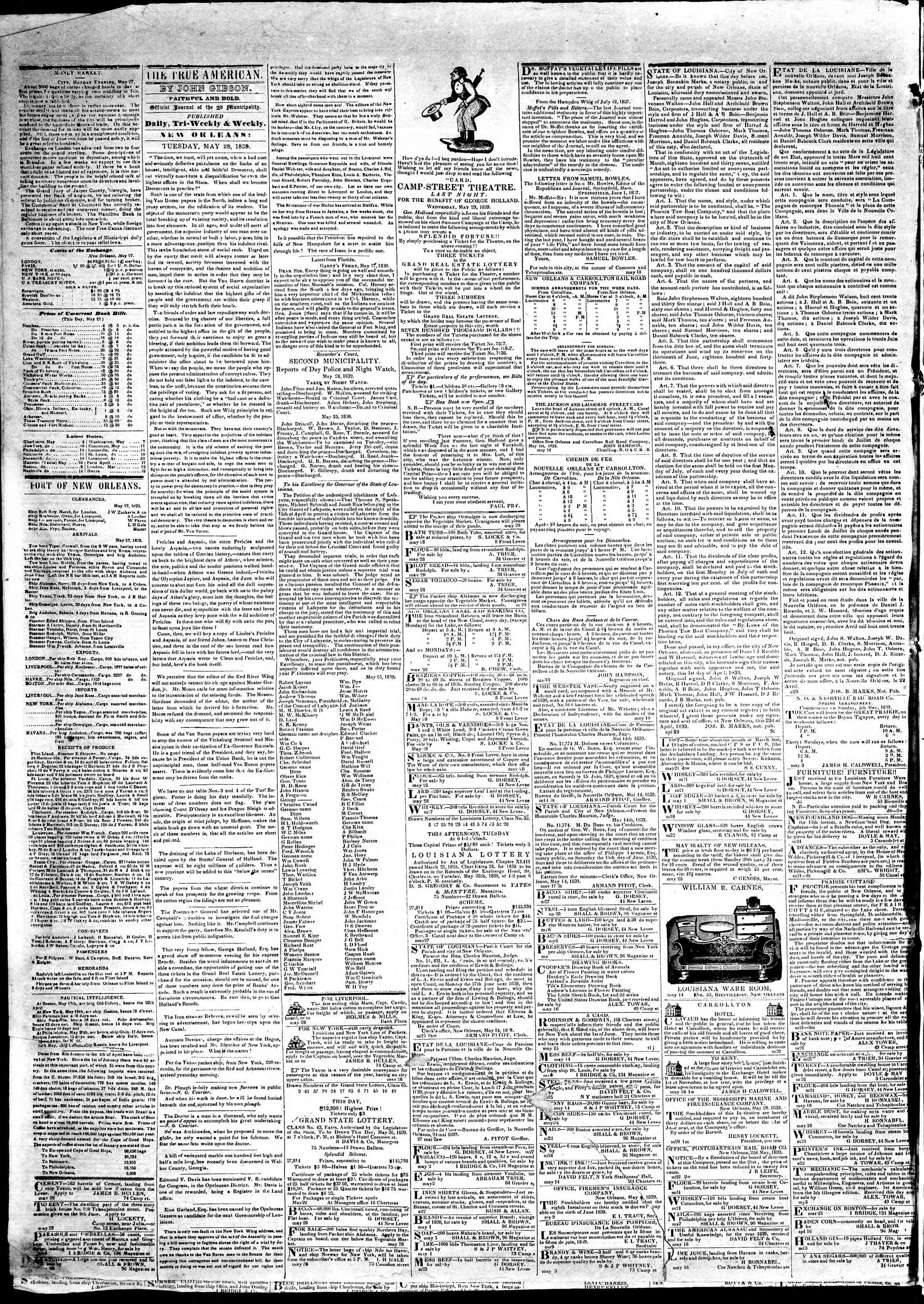 Newspaper of True American dated May 28, 1839 Page 2