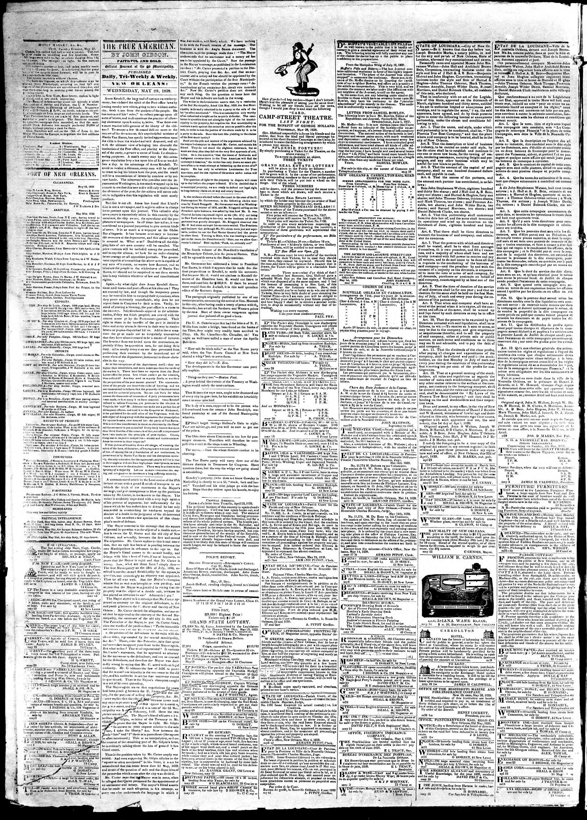 May 29, 1839 Tarihli True American Gazetesi Sayfa 2