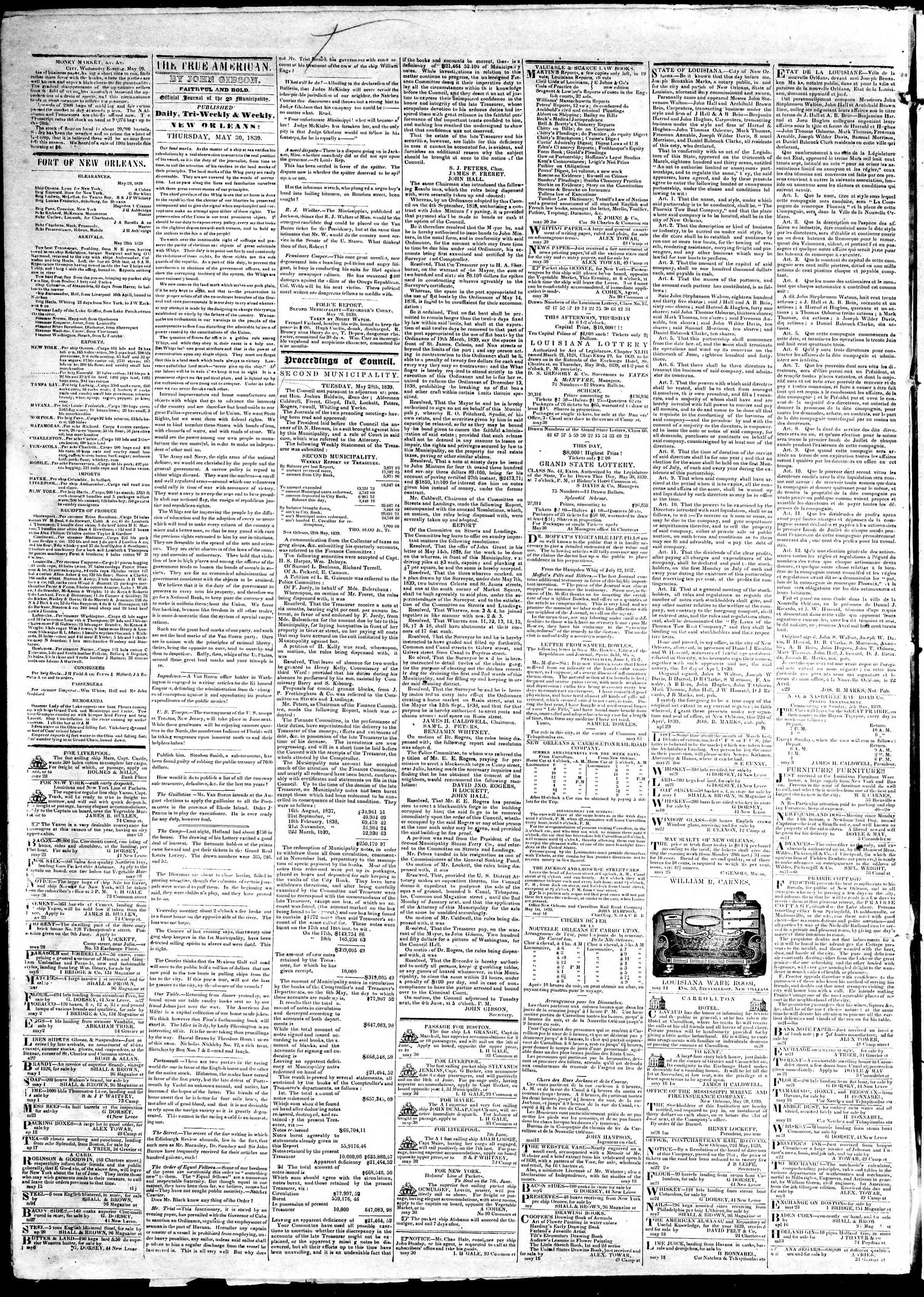 May 29, 1839 Tarihli True American Gazetesi Sayfa 5