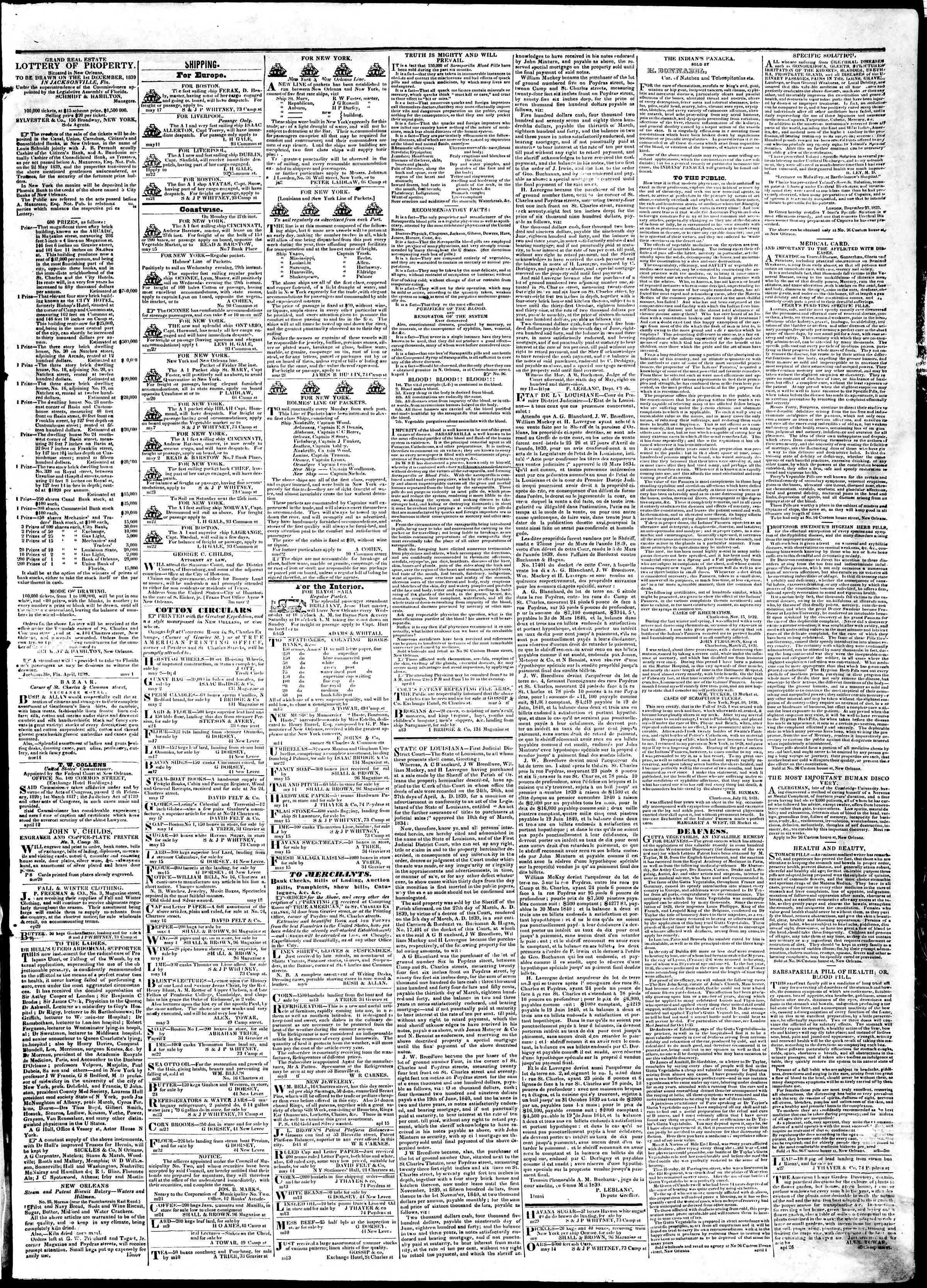 May 31, 1839 Tarihli True American Gazetesi Sayfa 3