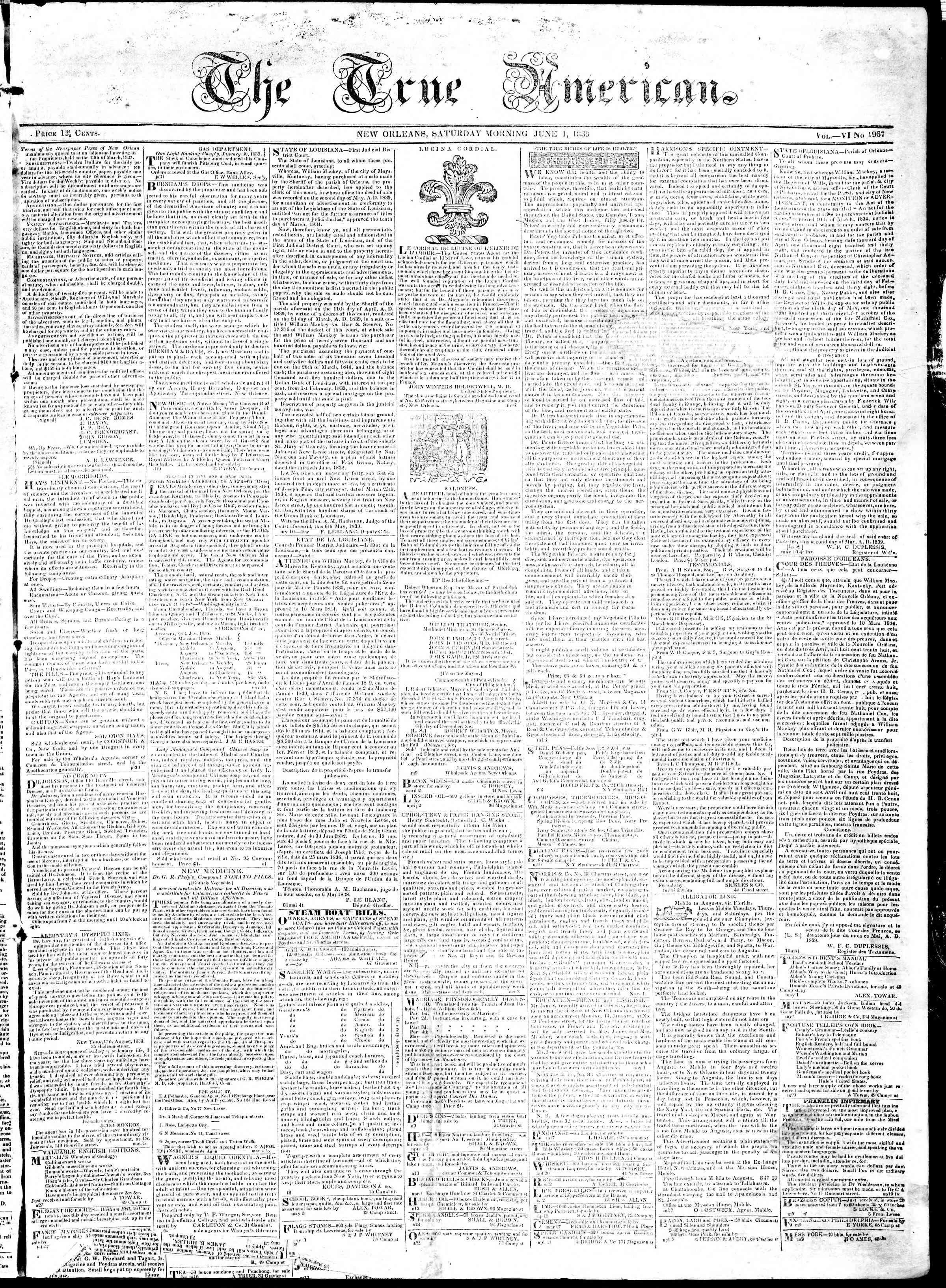 June 1, 1839 Tarihli True American Gazetesi Sayfa 1