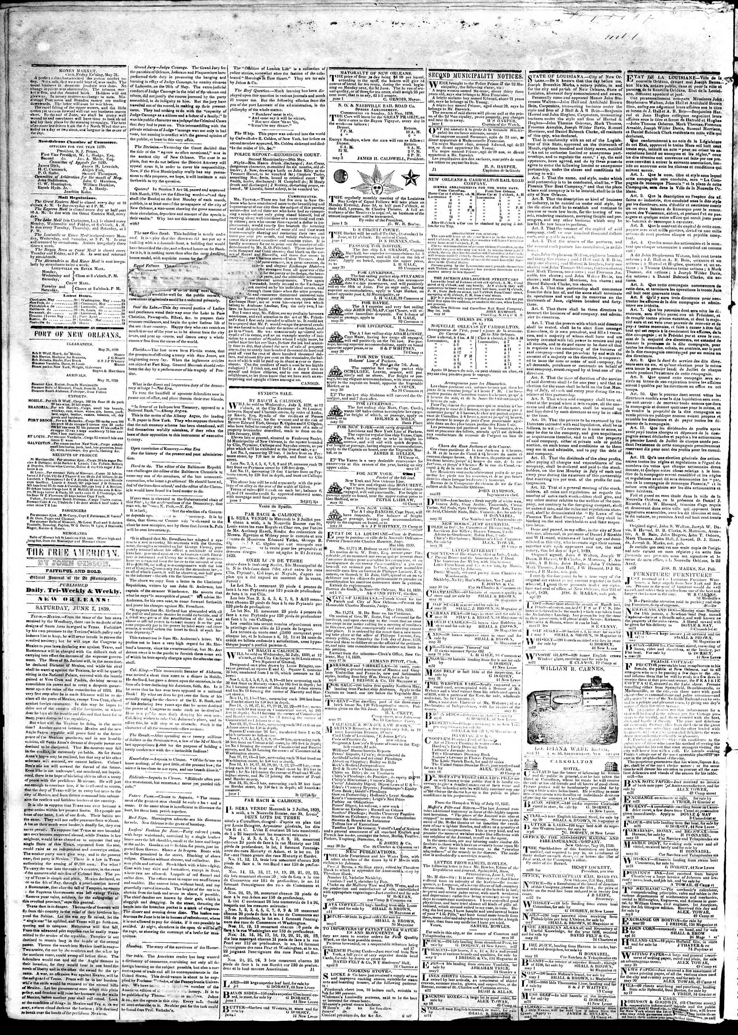 June 1, 1839 Tarihli True American Gazetesi Sayfa 2