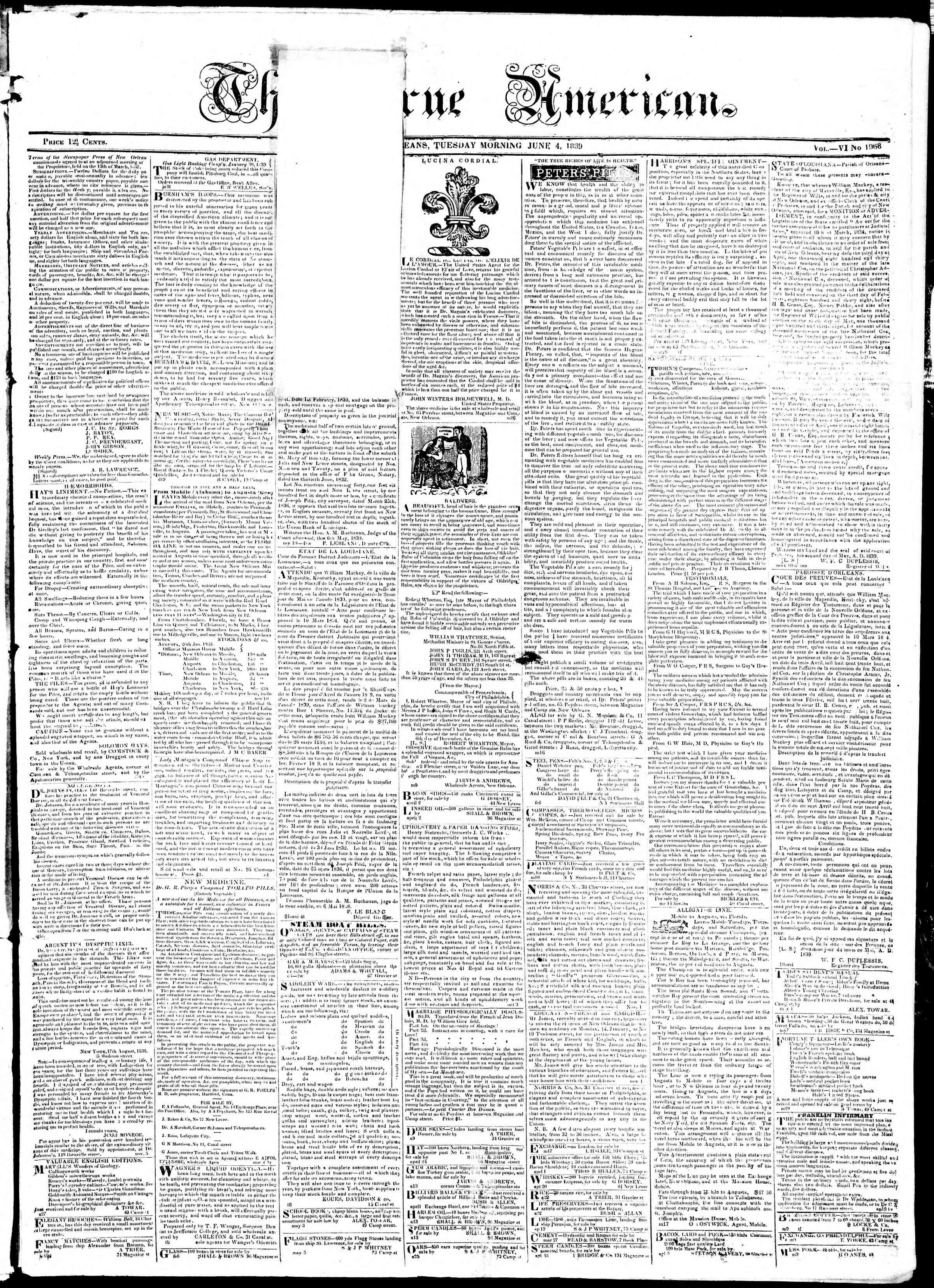 June 4, 1839 Tarihli True American Gazetesi Sayfa 1