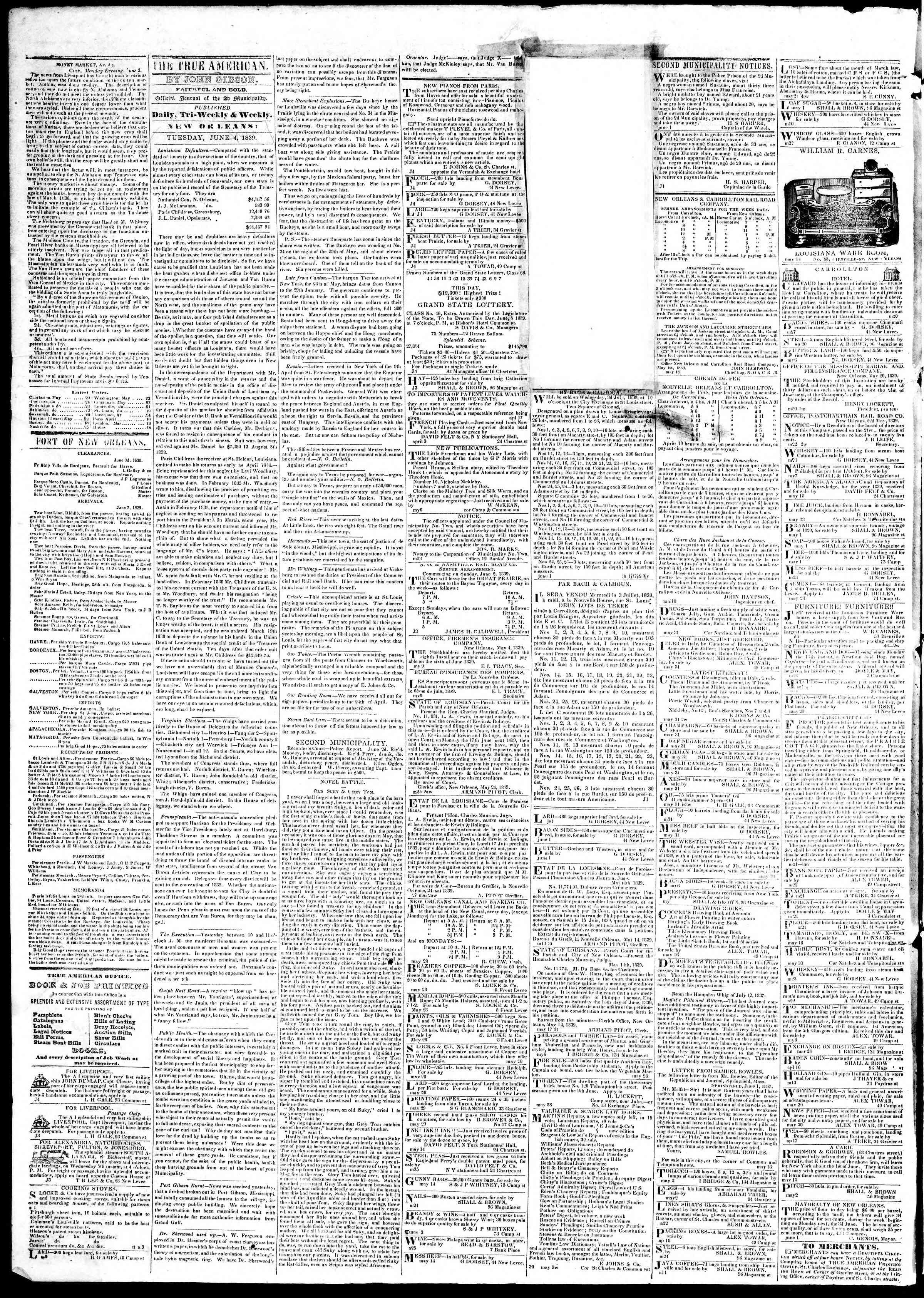 June 4, 1839 Tarihli True American Gazetesi Sayfa 2