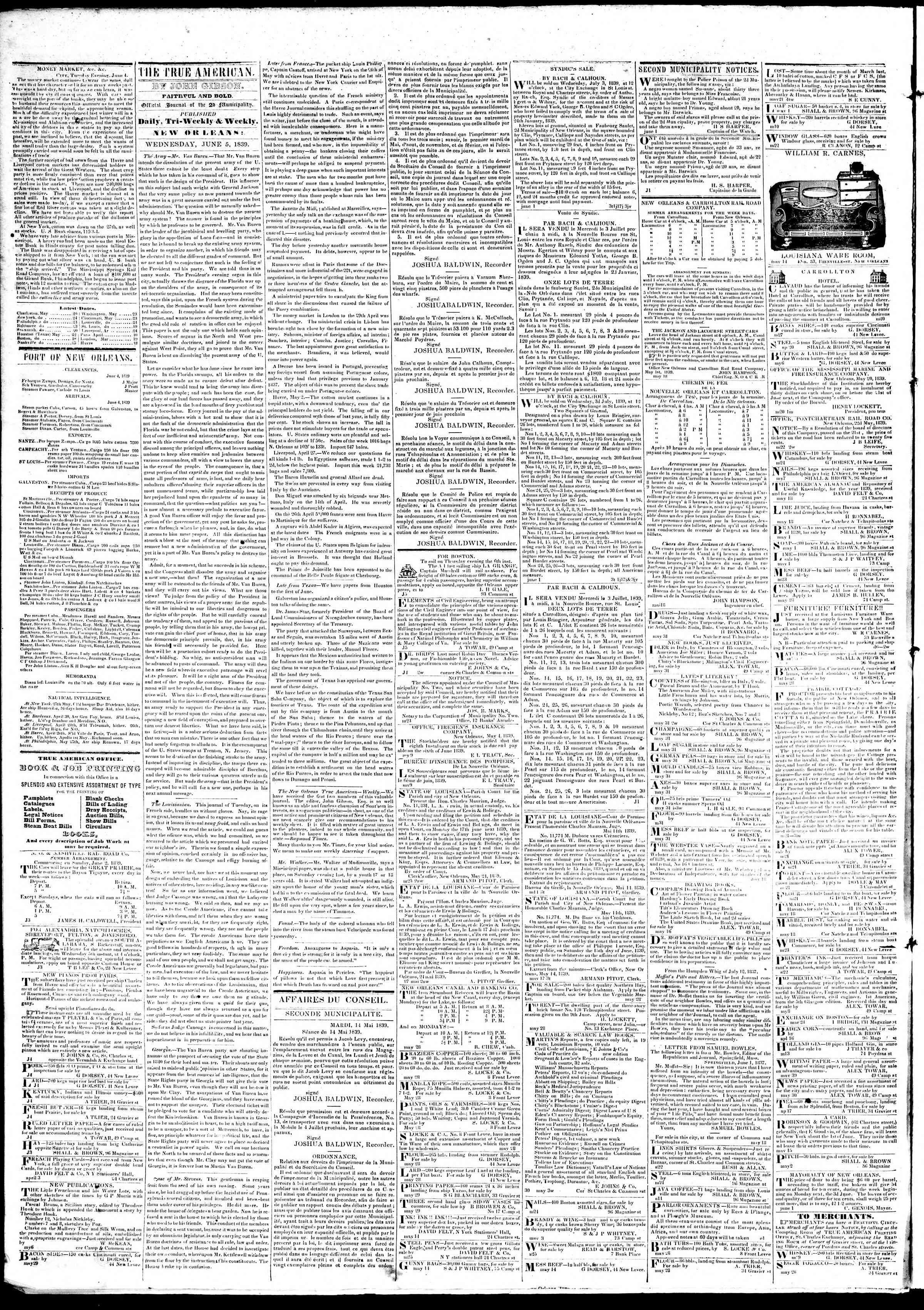 Newspaper of True American dated June 5, 1839 Page 2