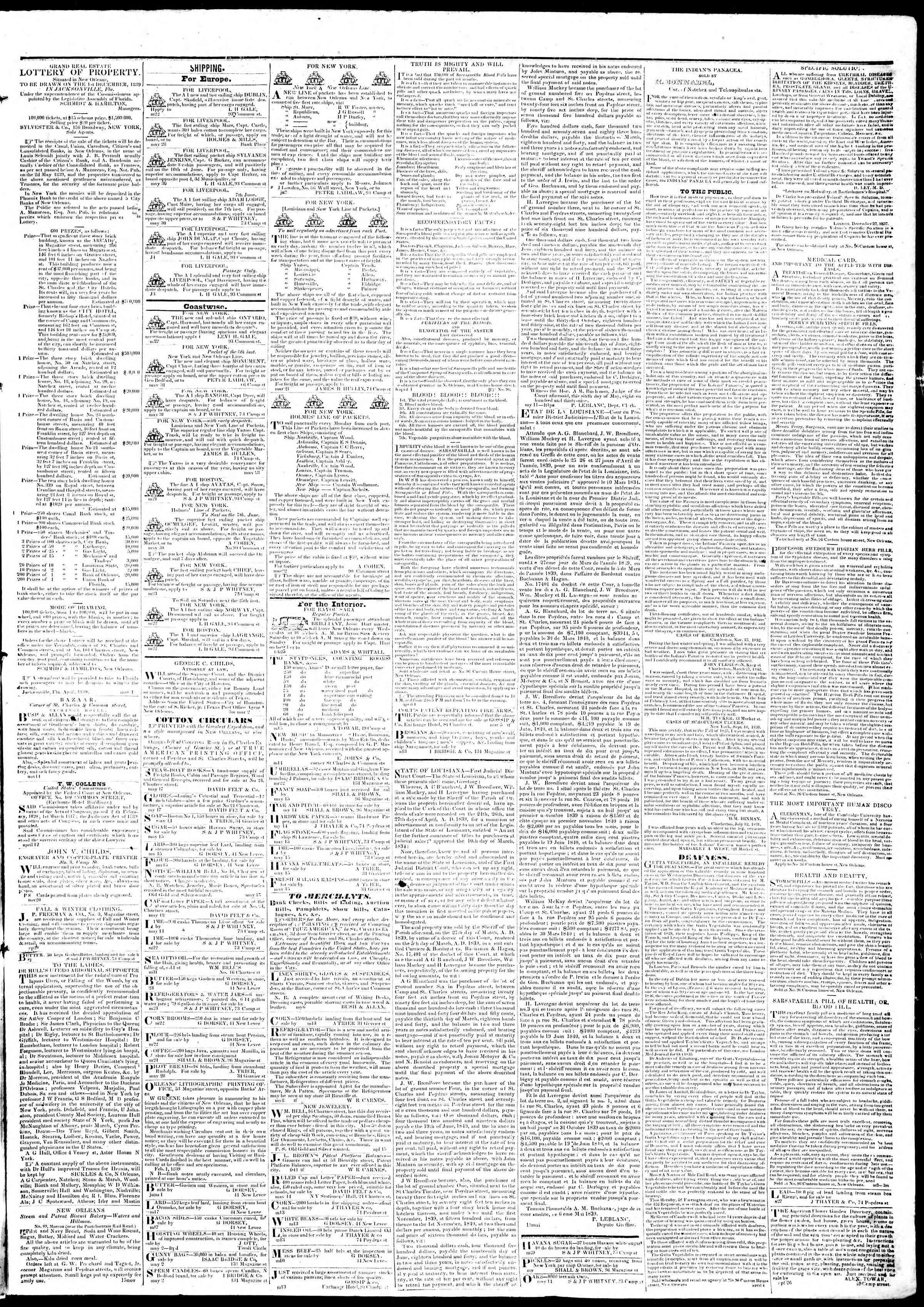 June 5, 1839 Tarihli True American Gazetesi Sayfa 3