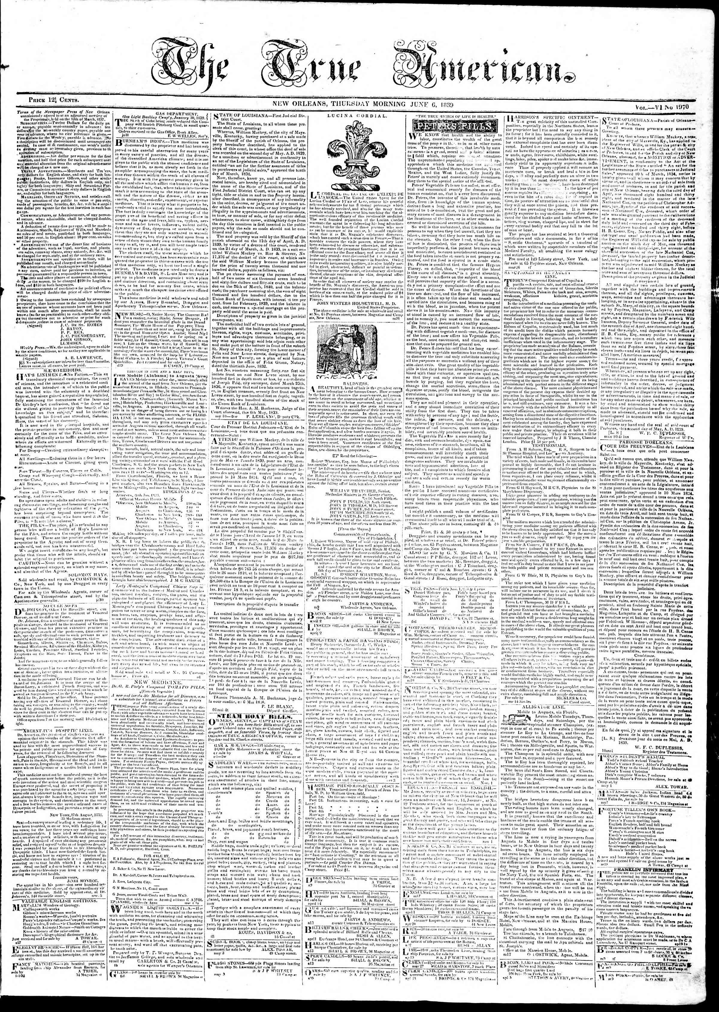 6 Haziran 1839 tarihli True American Gazetesi Sayfa 1
