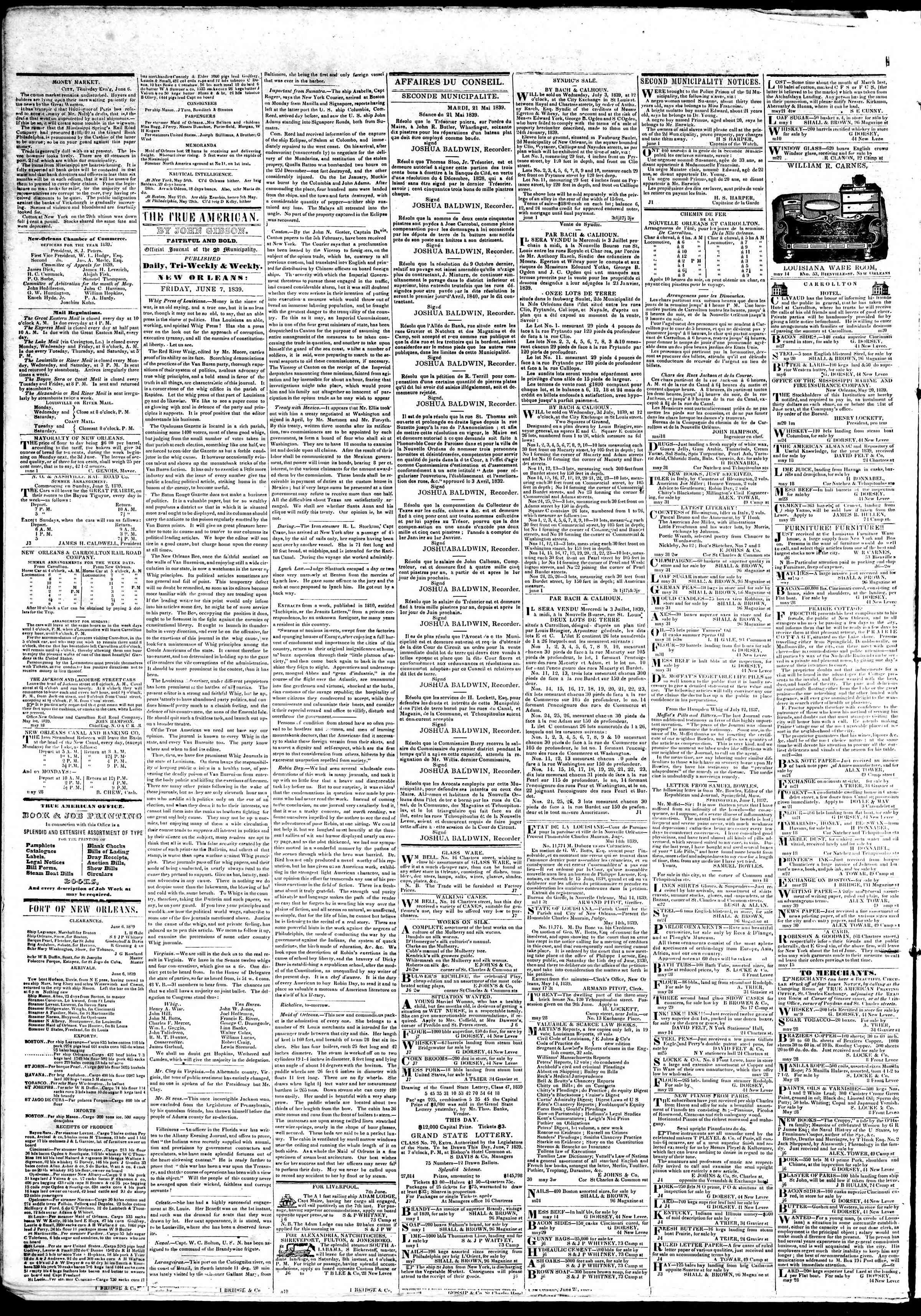 June 7, 1839 Tarihli True American Gazetesi Sayfa 2