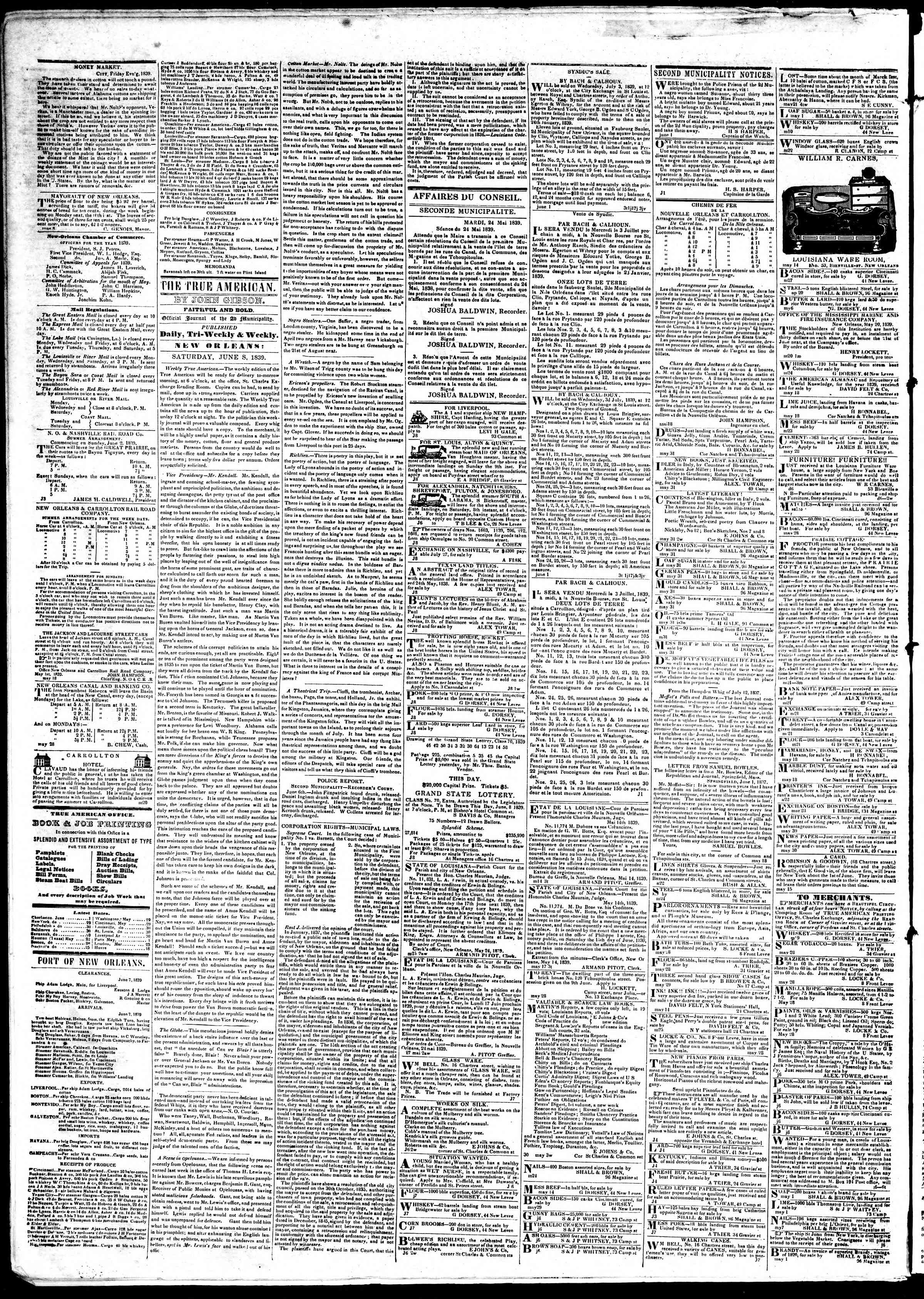 Newspaper of True American dated June 8, 1839 Page 2