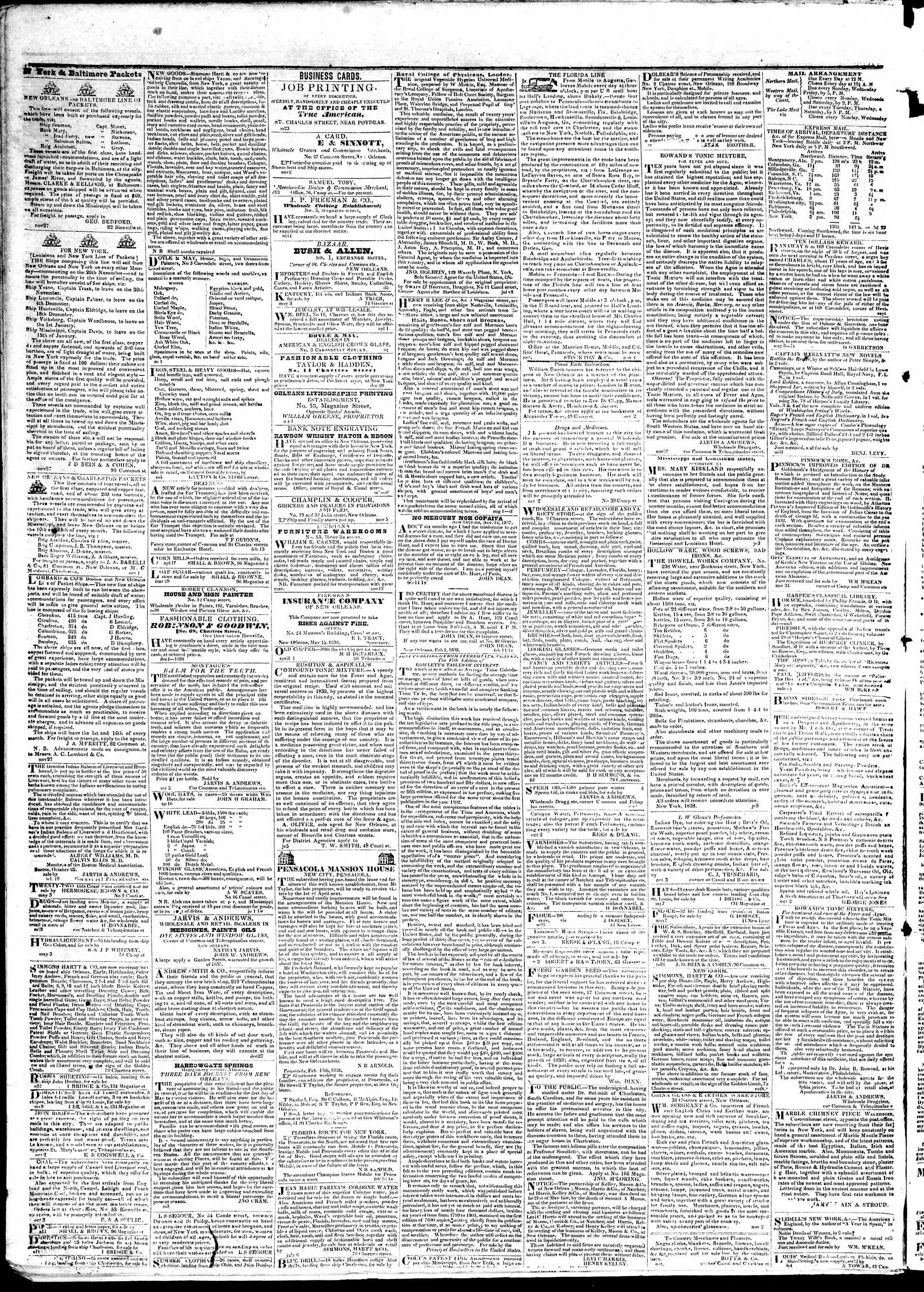 June 8, 1839 Tarihli True American Gazetesi Sayfa 4