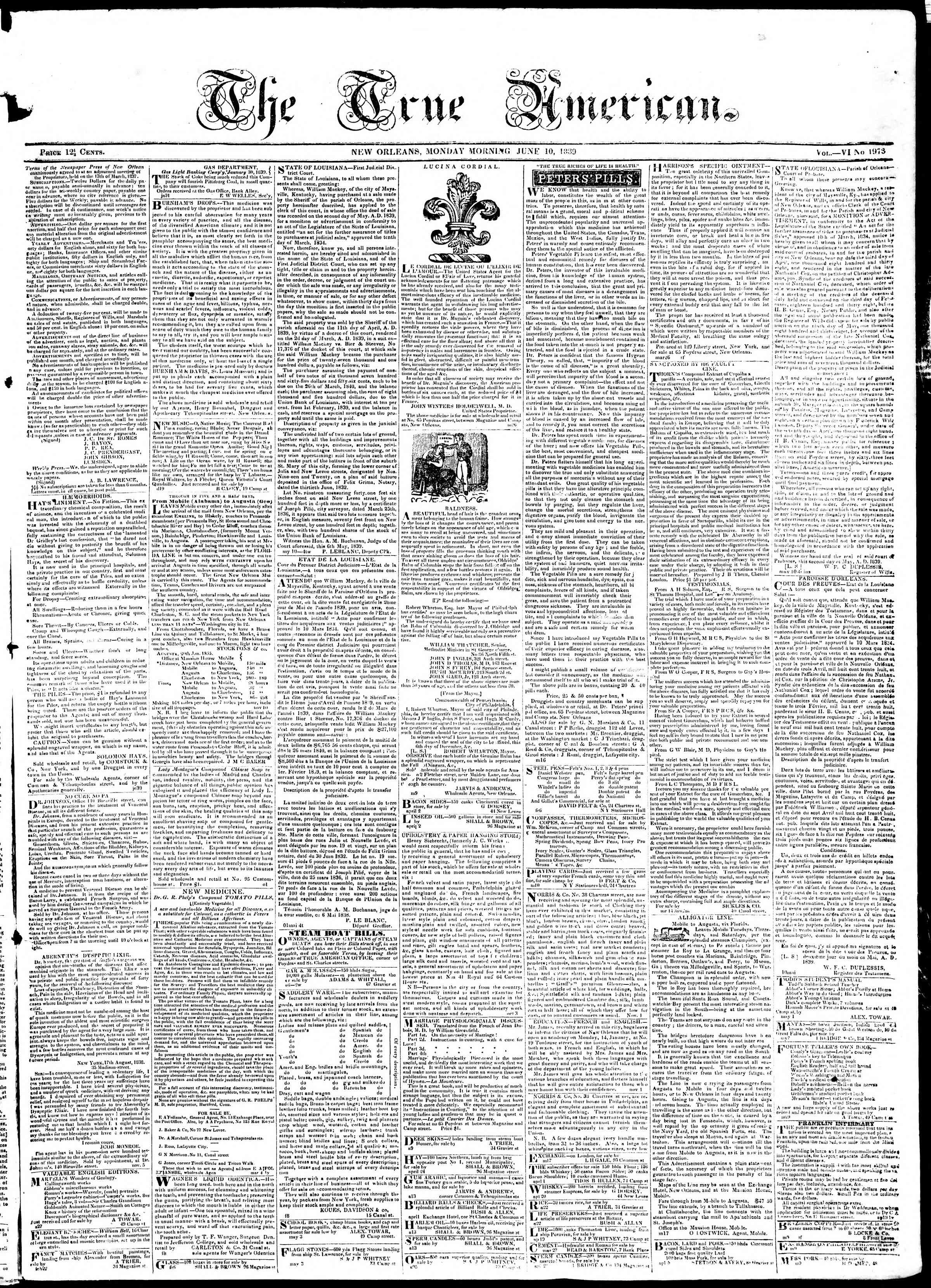 Newspaper of True American dated June 10, 1839 Page 1