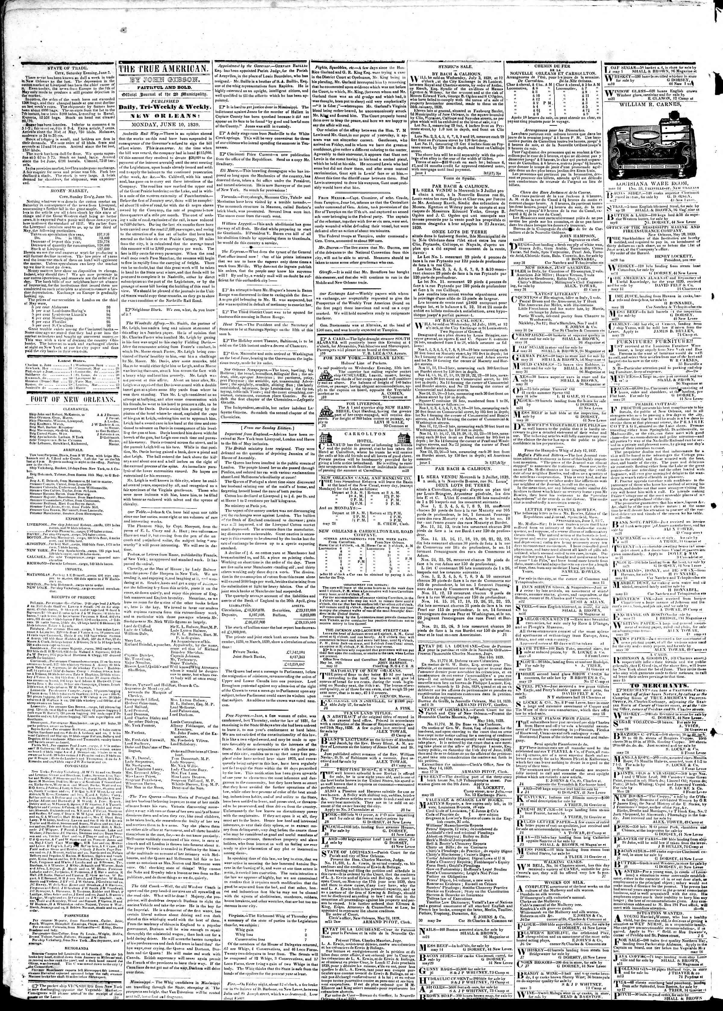 June 10, 1839 Tarihli True American Gazetesi Sayfa 2