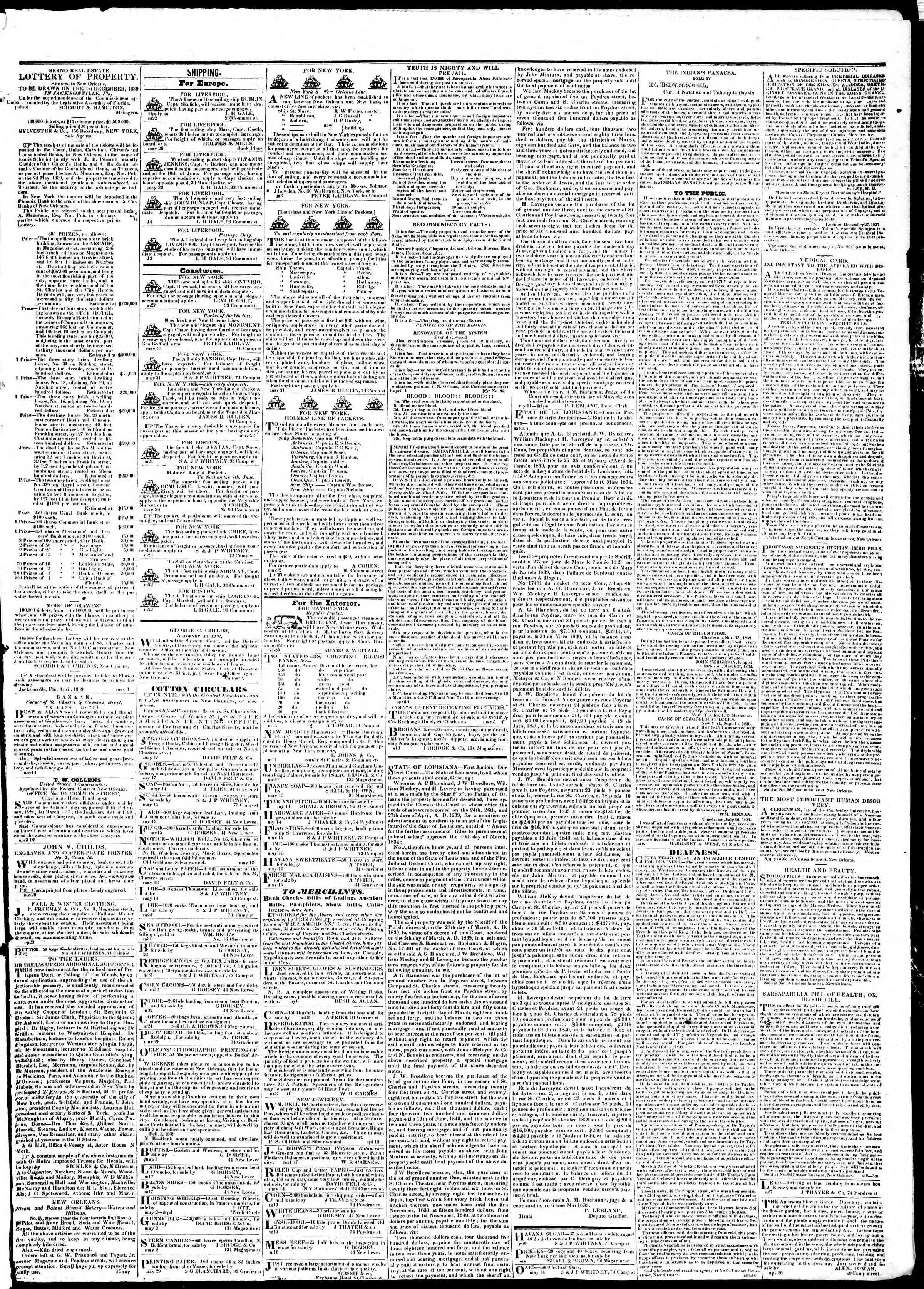 June 10, 1839 Tarihli True American Gazetesi Sayfa 4