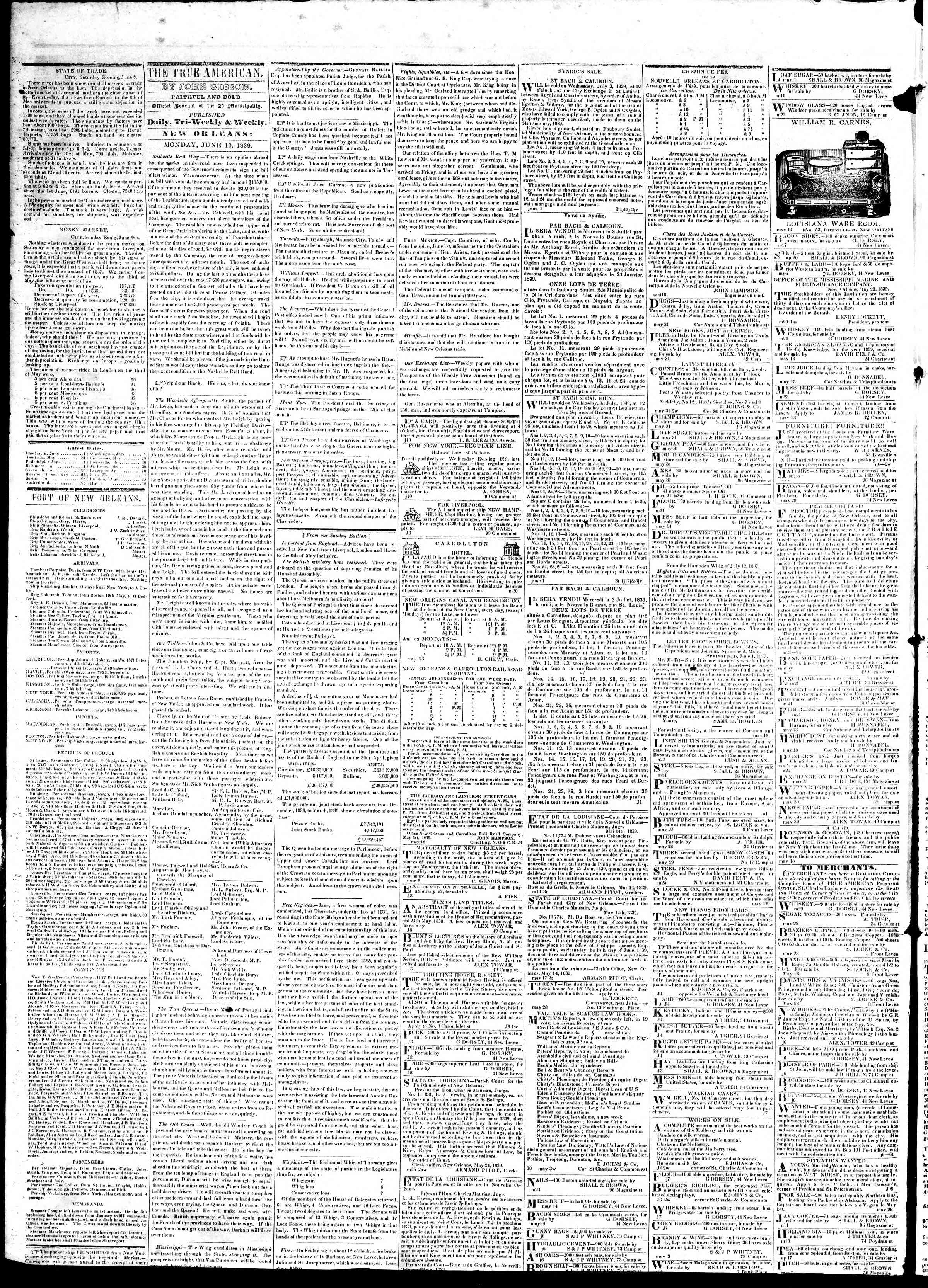 Newspaper of True American dated June 10, 1839 Page 5