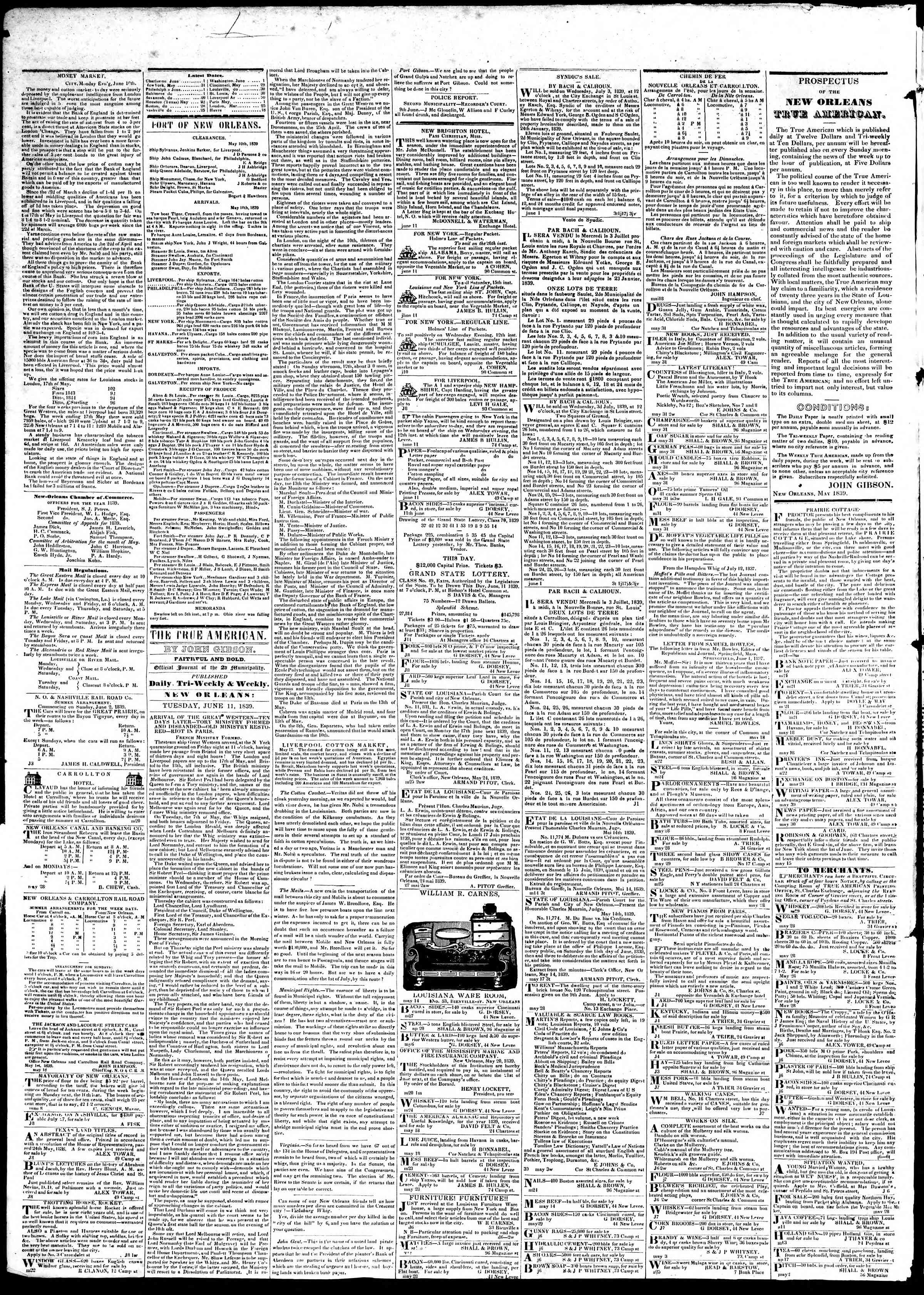 Newspaper of True American dated June 10, 1839 Page 6
