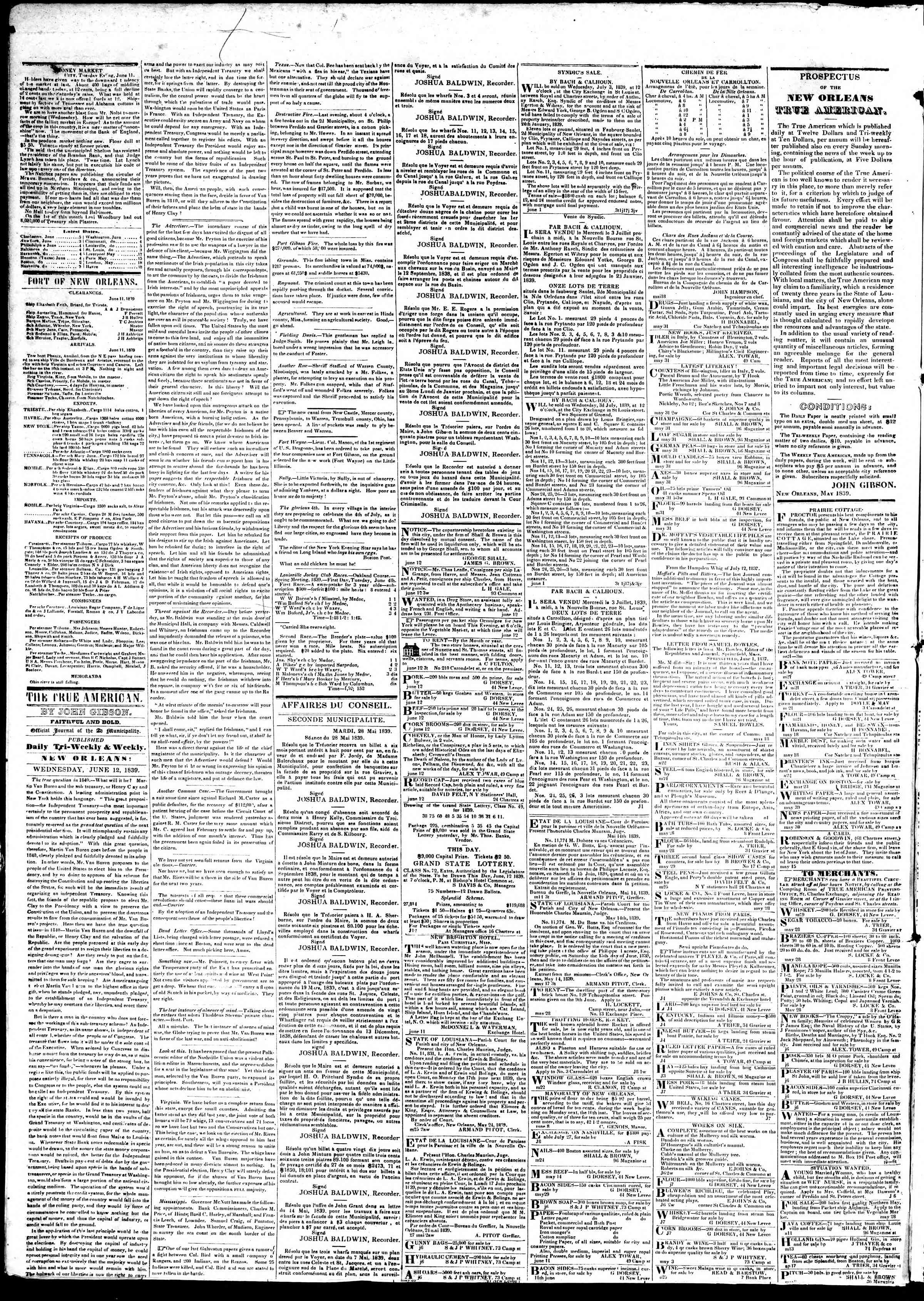 Newspaper of True American dated June 12, 1839 Page 2