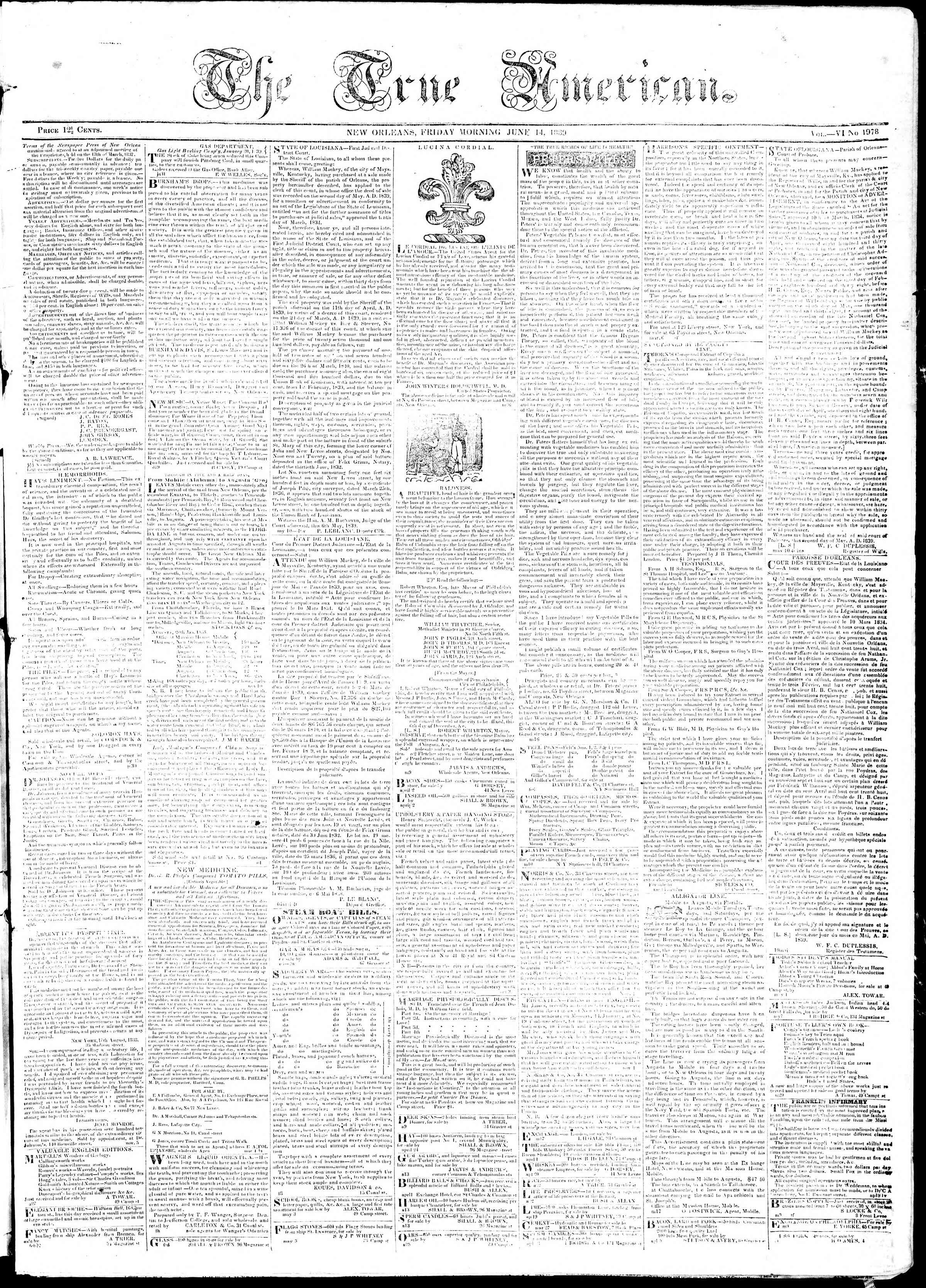 Newspaper of True American dated June 14, 1839 Page 1