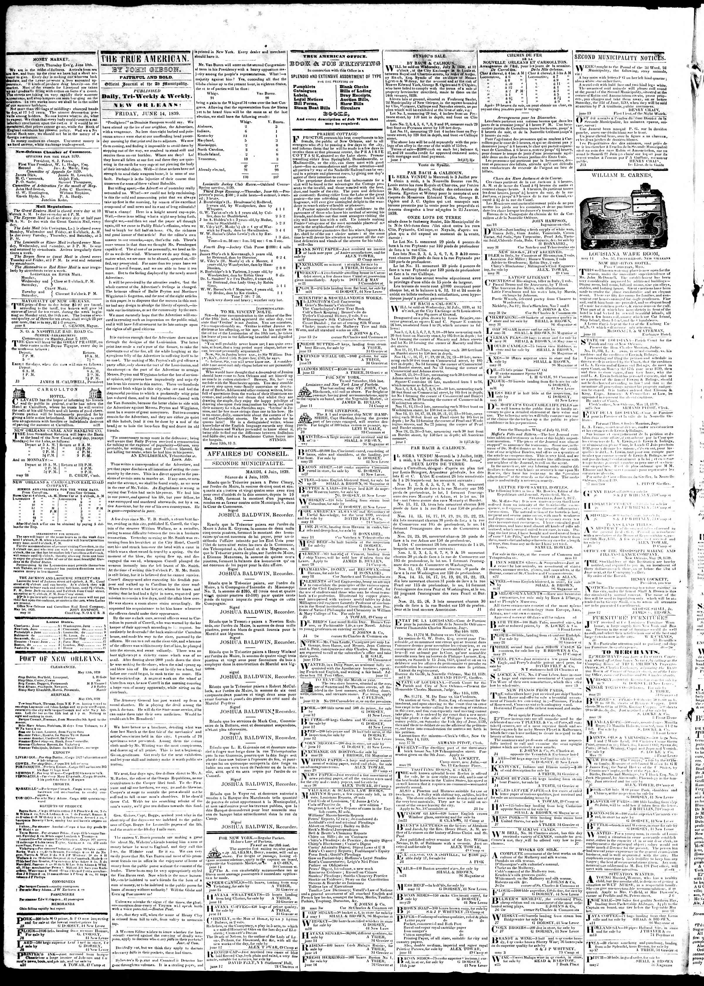 Newspaper of True American dated June 14, 1839 Page 2