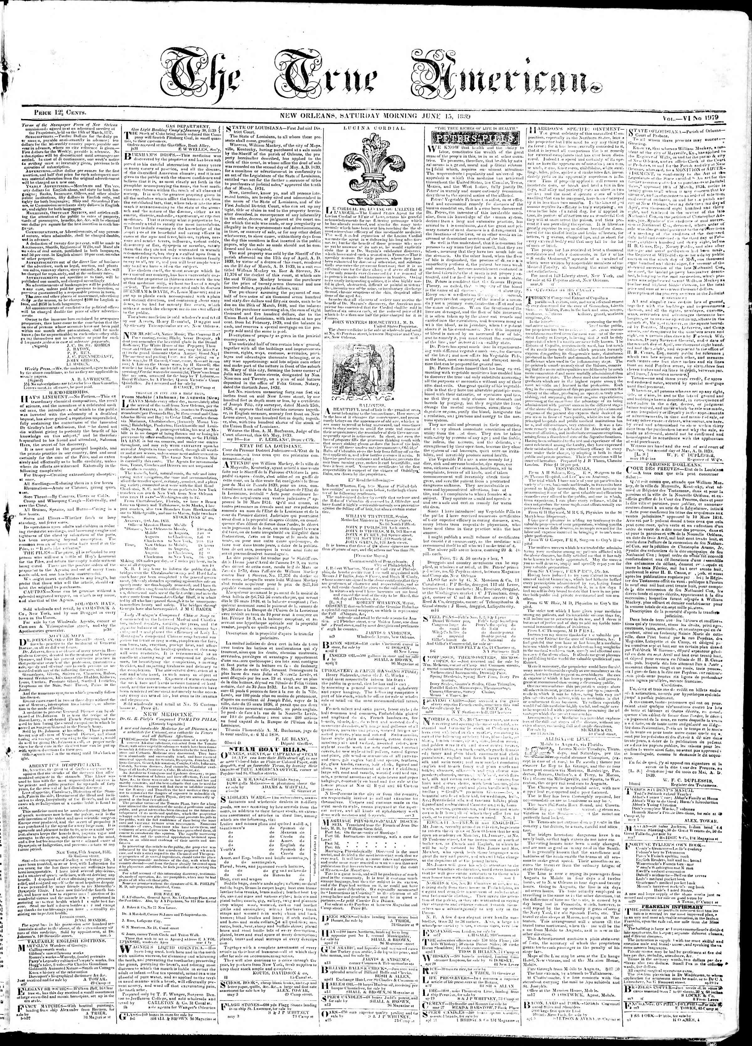 Newspaper of True American dated June 15, 1839 Page 1