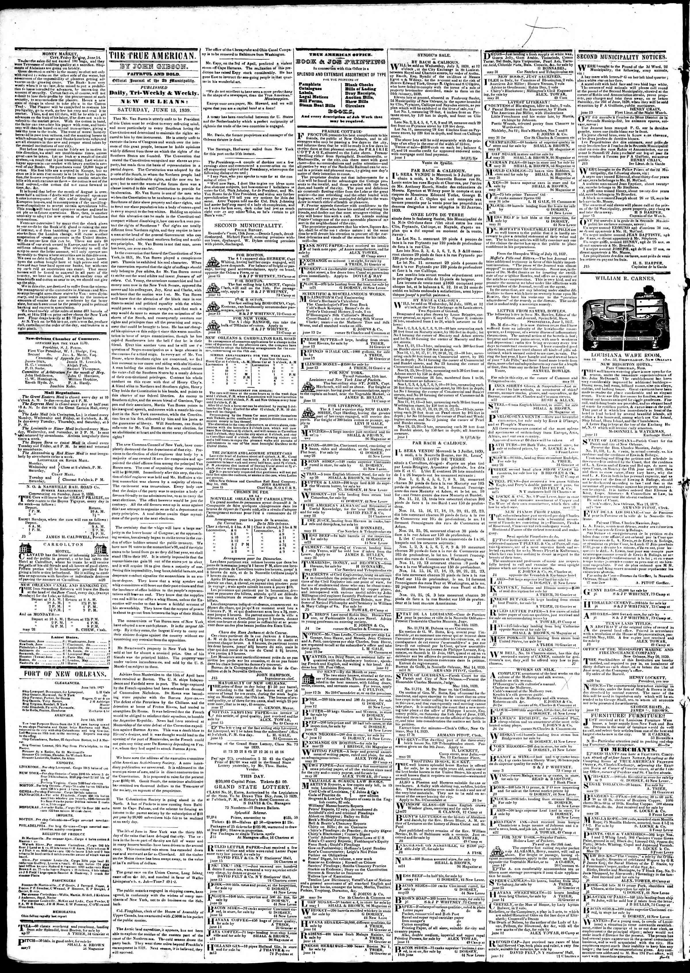 June 15, 1839 Tarihli True American Gazetesi Sayfa 2