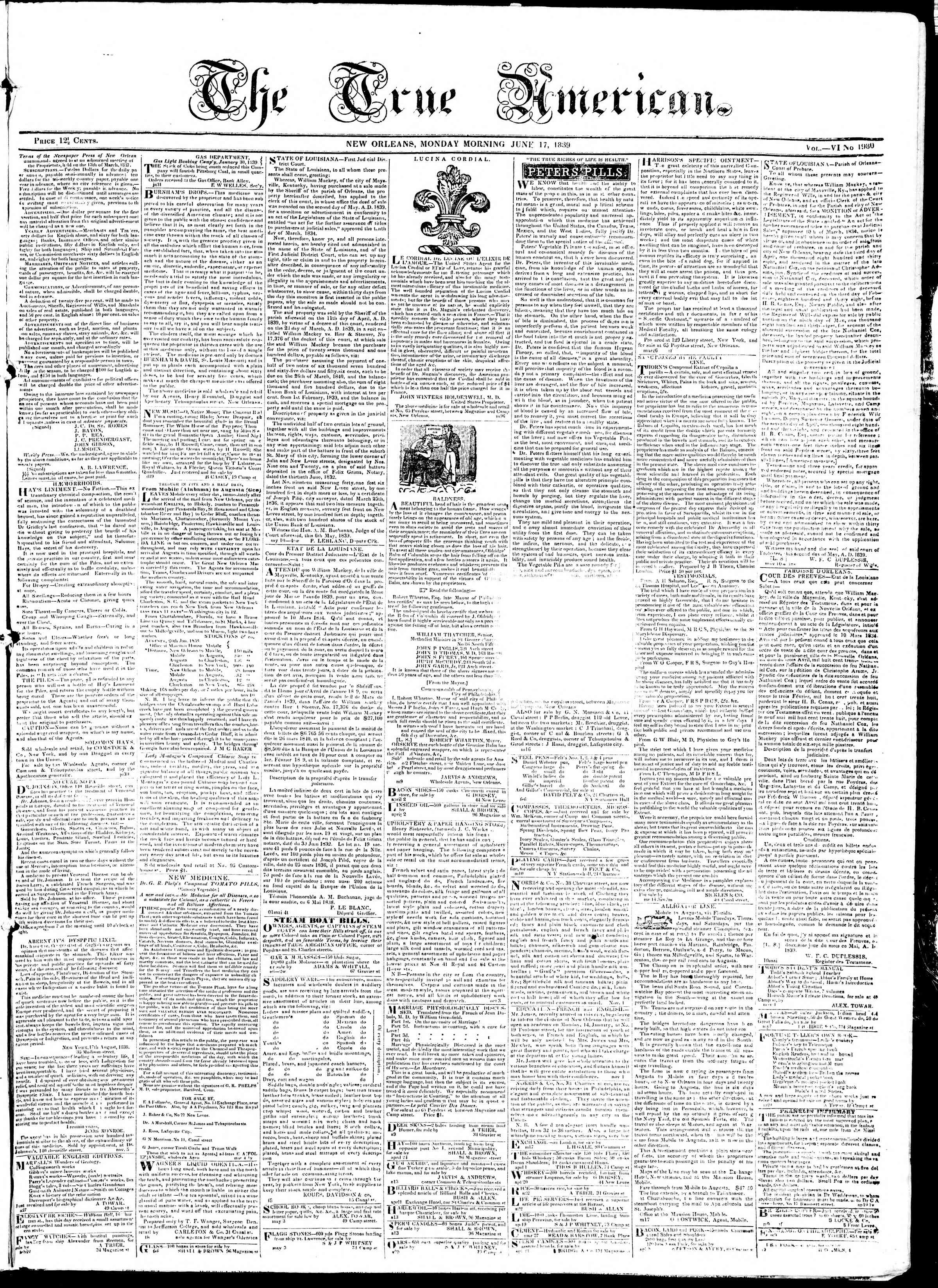 Newspaper of True American dated June 17, 1839 Page 1