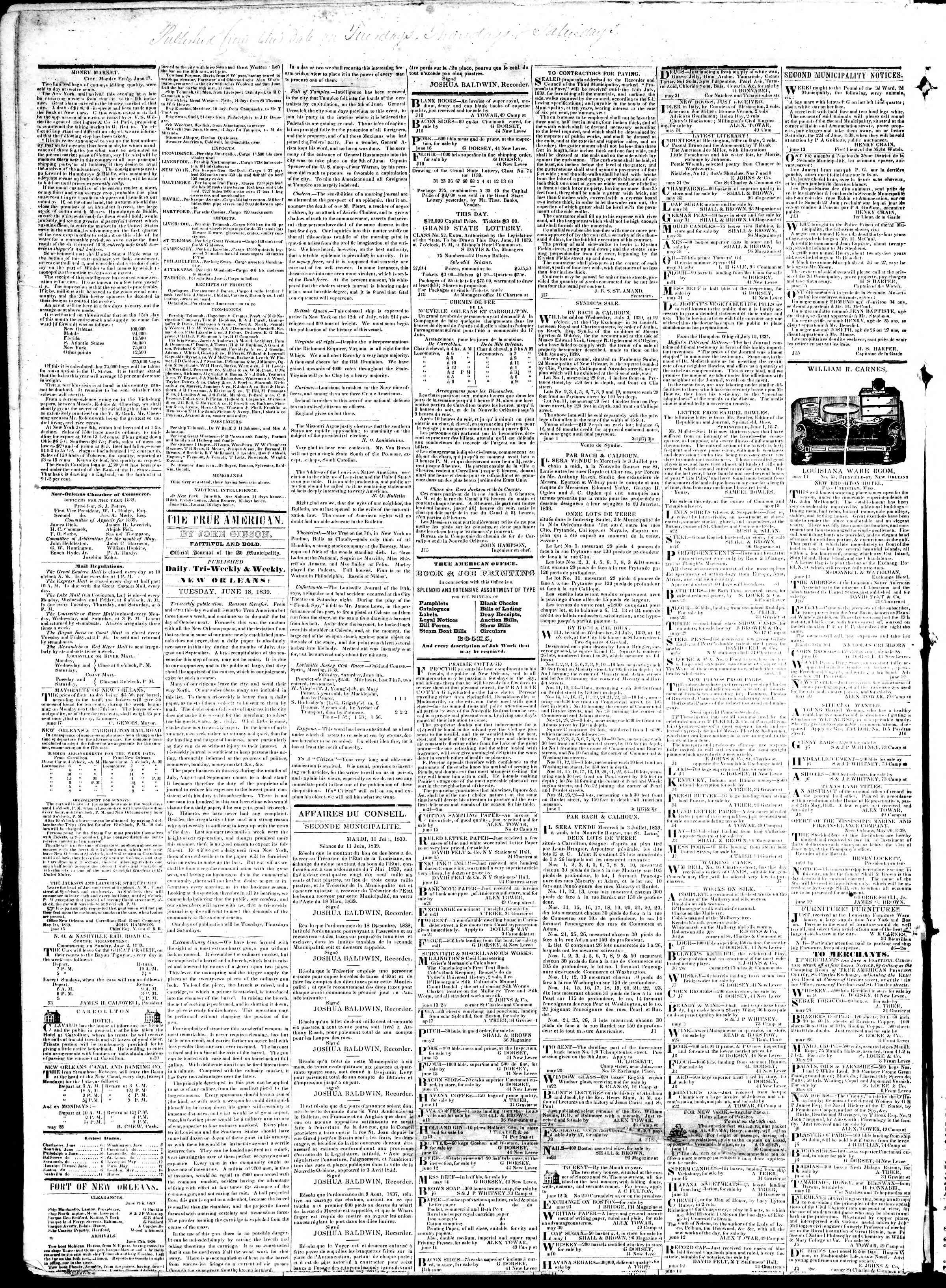June 17, 1839 Tarihli True American Gazetesi Sayfa 4