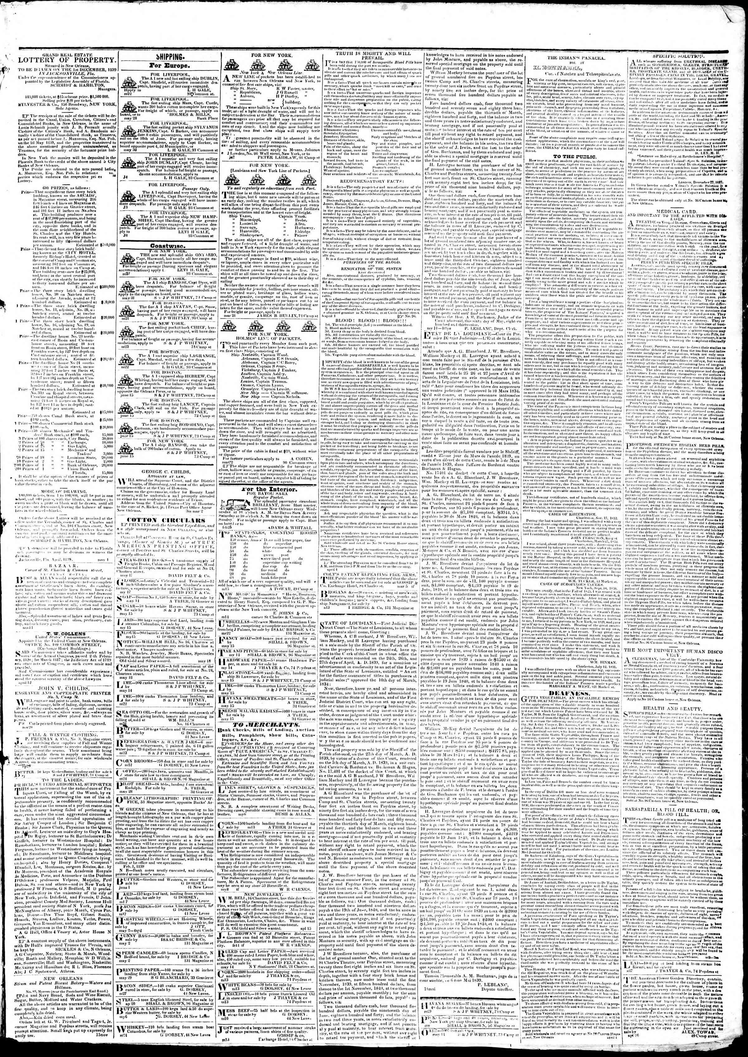June 20, 1839 Tarihli True American Gazetesi Sayfa 3