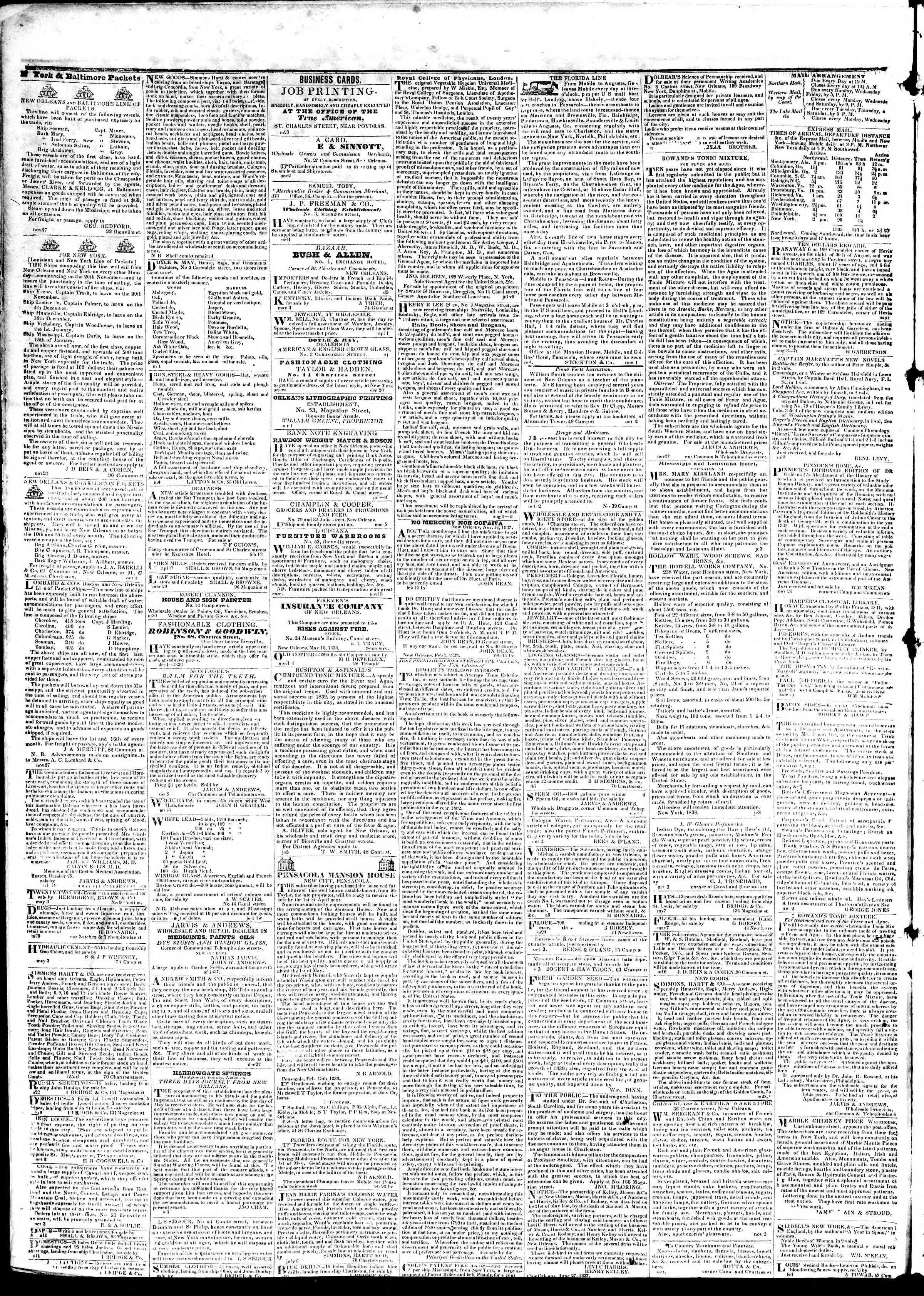 June 20, 1839 Tarihli True American Gazetesi Sayfa 4