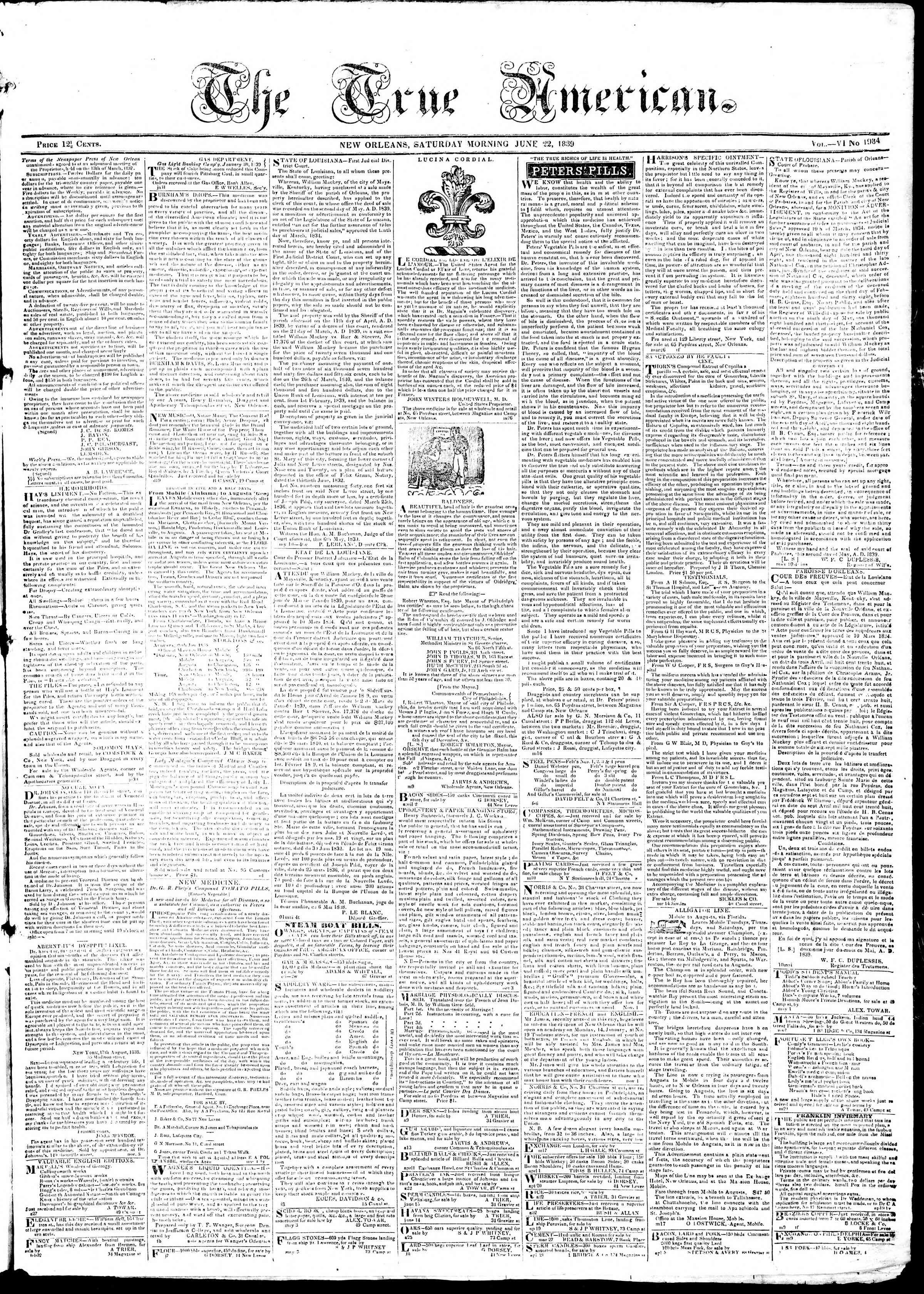 Newspaper of True American dated June 22, 1839 Page 1