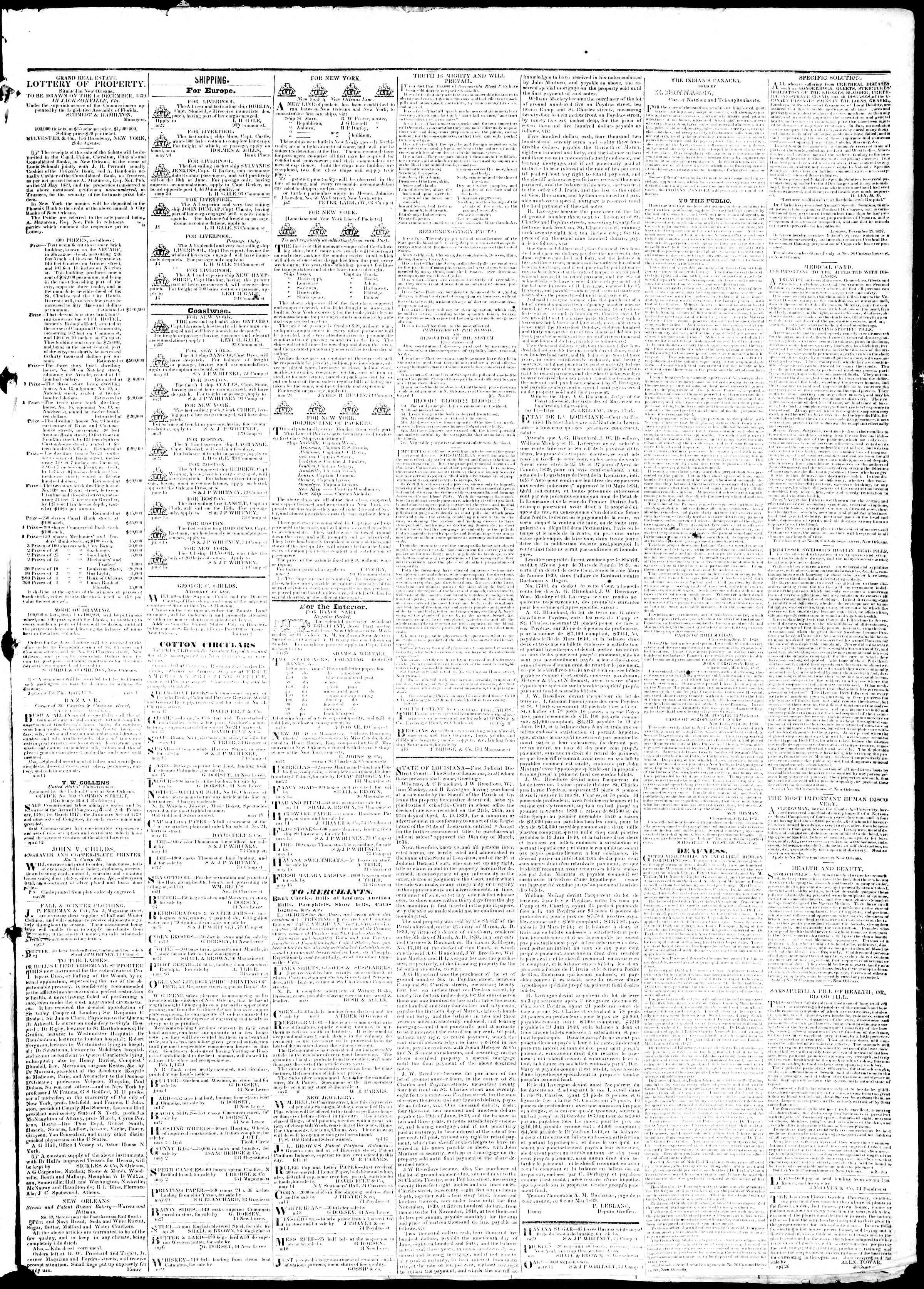 June 22, 1839 Tarihli True American Gazetesi Sayfa 3